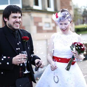 Lisa & Simon - A red and white 50s influenced wedding at Napier Uni, Edinburgh 5th May 2012