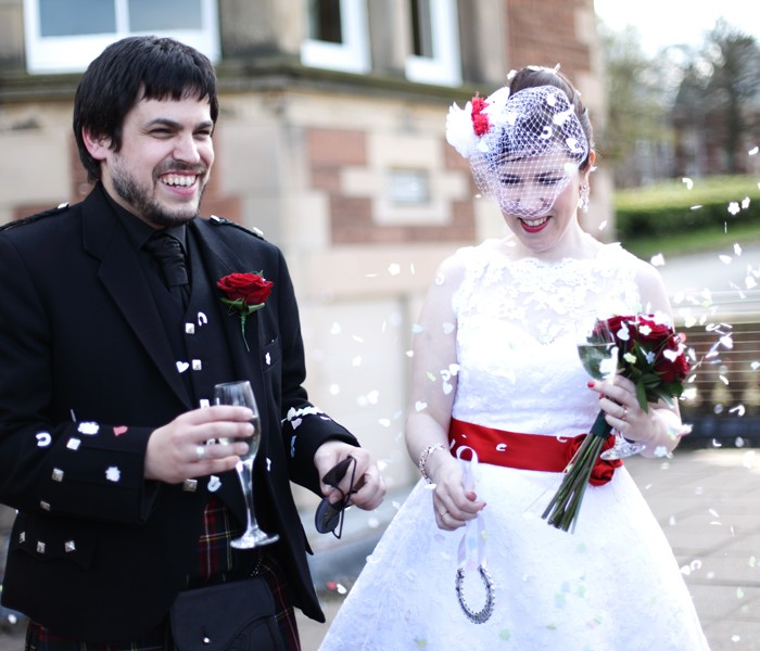 Lisa & Simon - A red and white 50s influenced wedding at Napier Uni, Edinburgh 5th May 2012