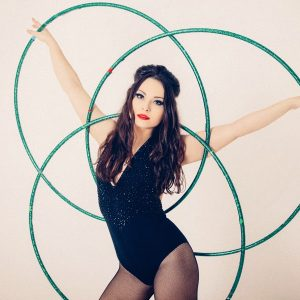 Hula Hooping Fun - cabaret boudoir Edinburgh photoshoot with Polly Hoops