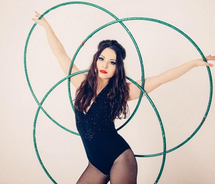Hula Hooping Fun - cabaret boudoir Edinburgh photoshoot with Polly Hoops