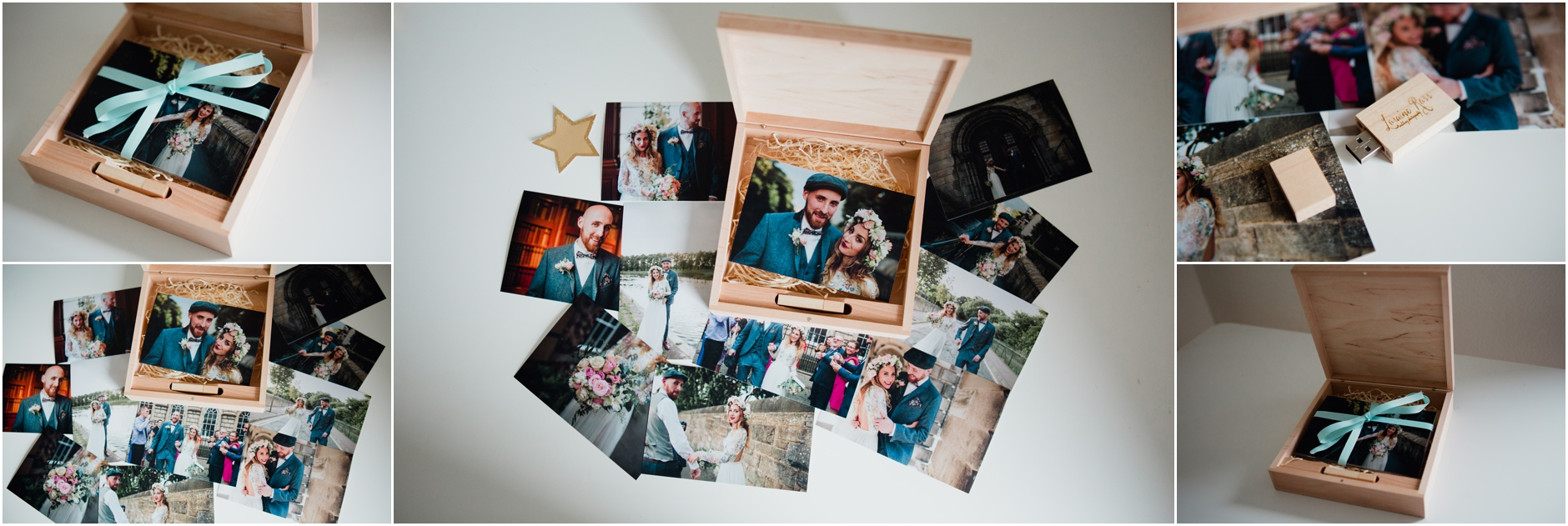 Edinburgh wedding photographer usb box print wooden