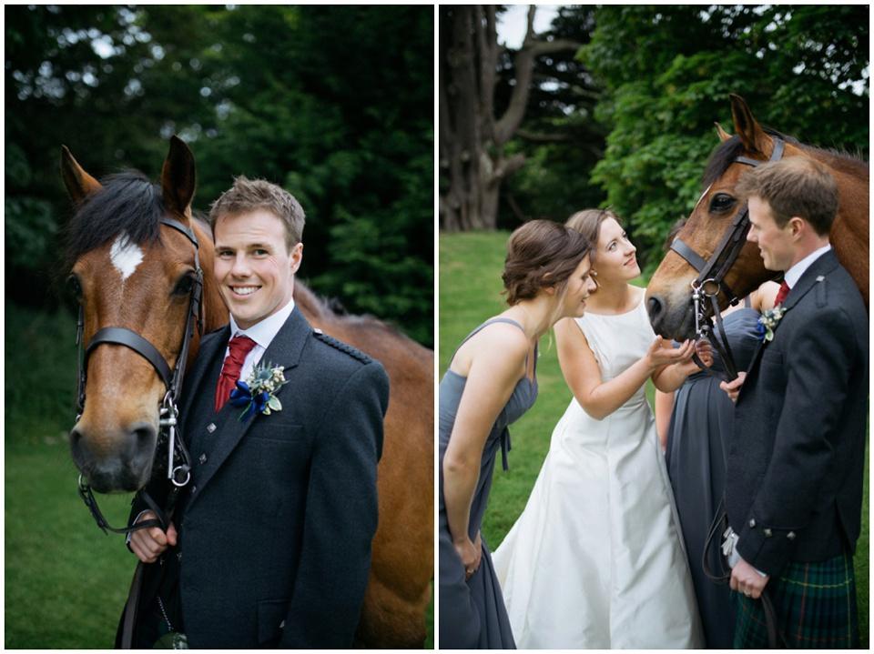 broxmouth Park wedding photos horse bride