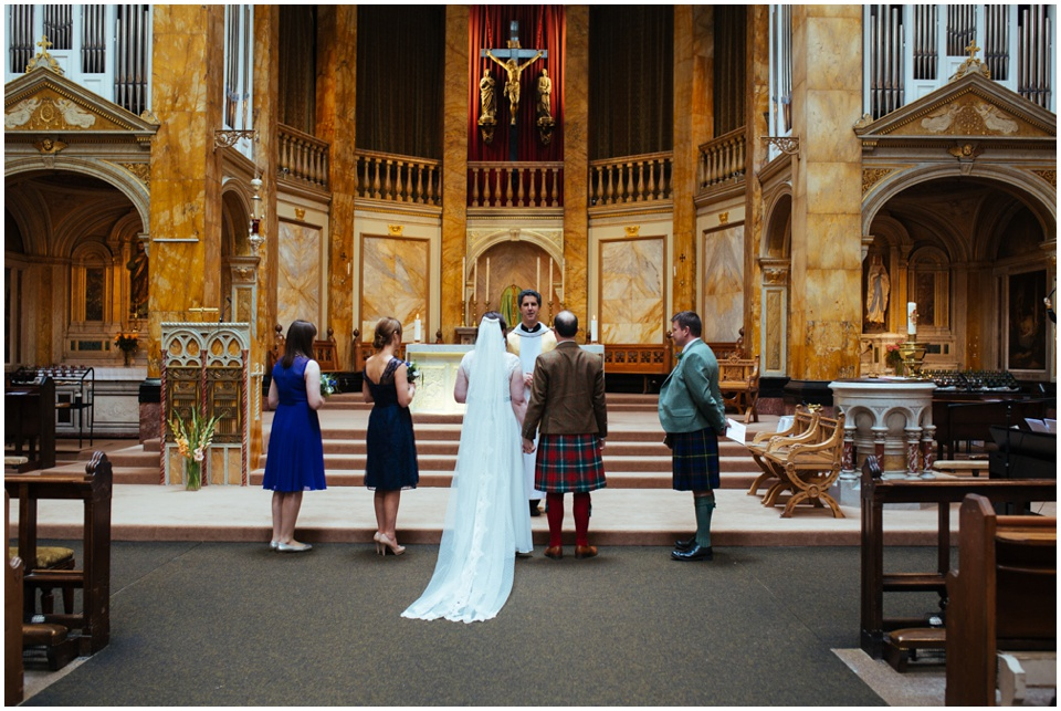 relaxed edinburgh wedding sacred heart church lauriston hall