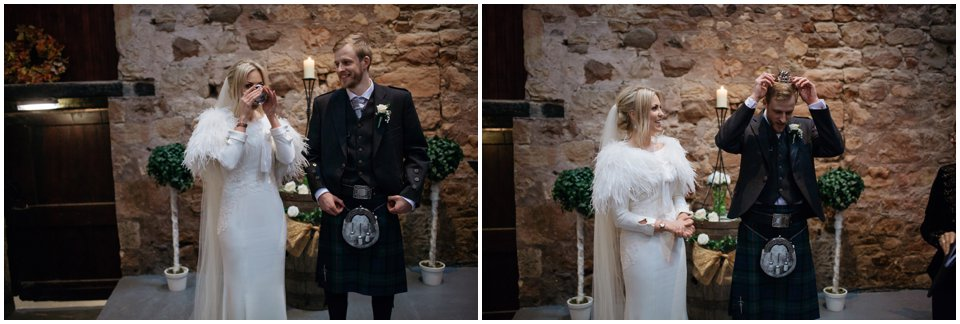 kinkell byre wedding winter barn scotland st andrews