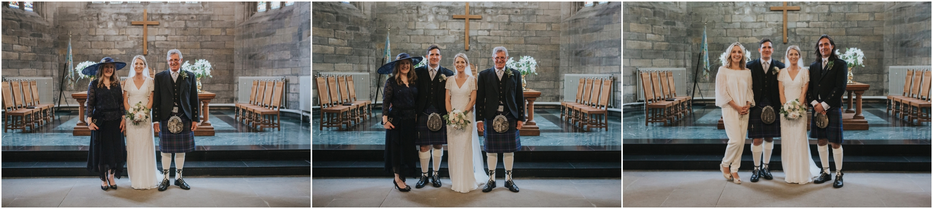 bride and groom on their wedding day at church of the holy rude and cowanes hospital