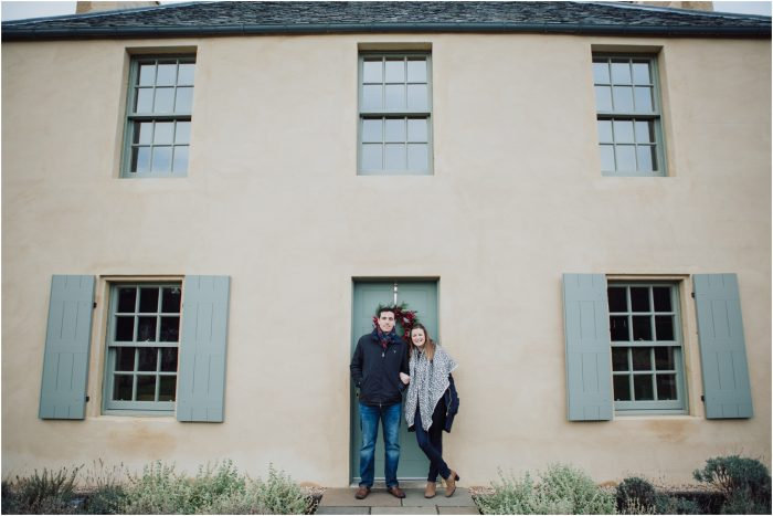 Winter pre-wedding shoot at Botanical Gardens, Edinburgh - Hazel & James