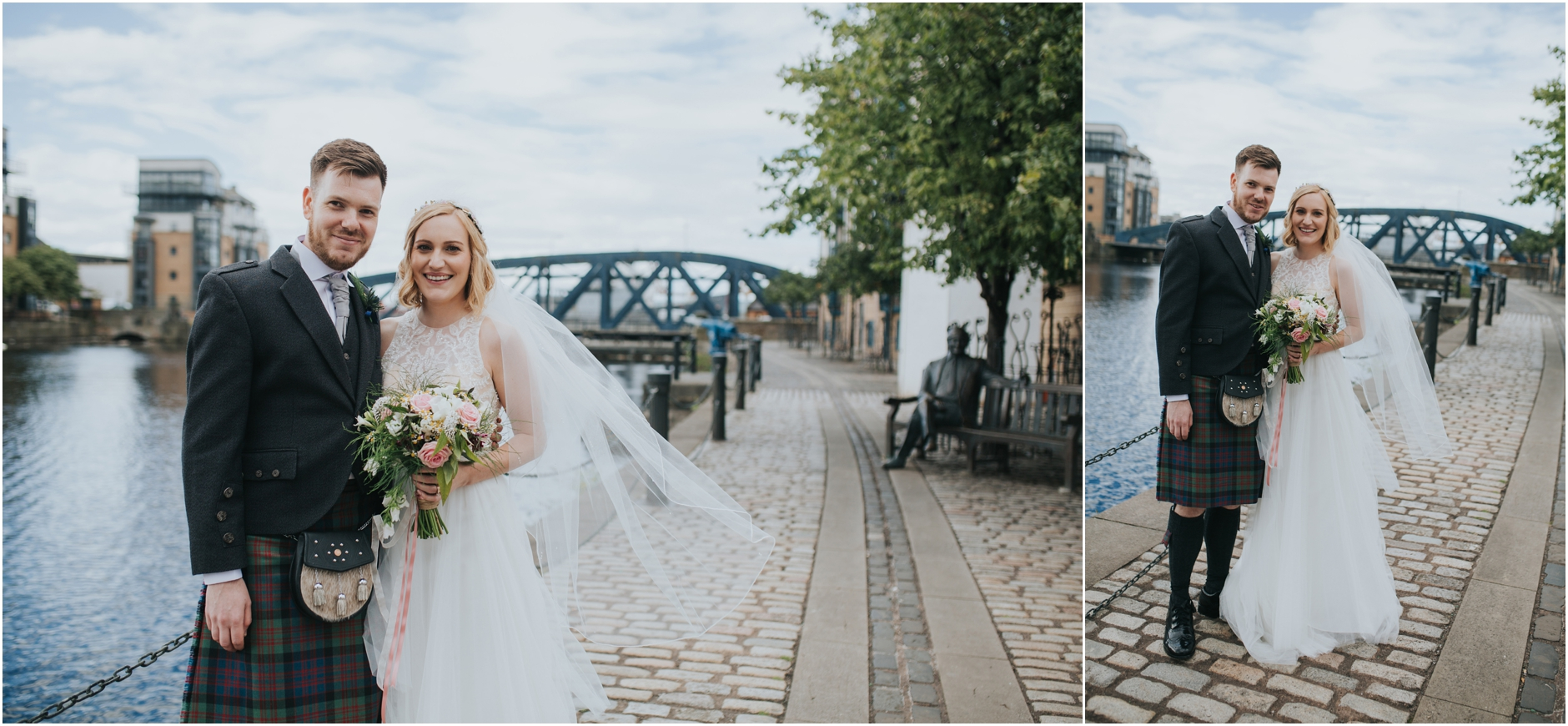wedding couple leith shore edinburgh bride and groom