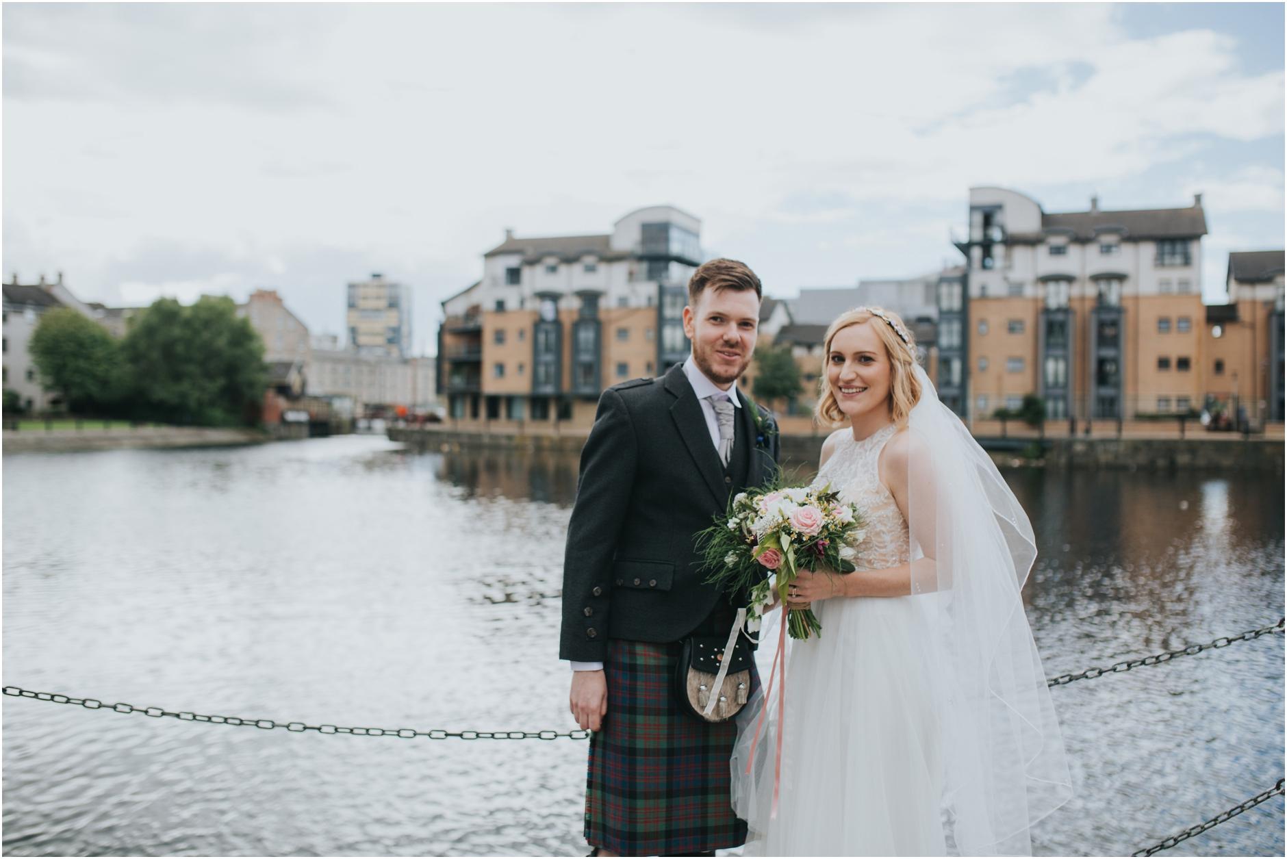 wedding couple leith shore edinburgh bride and groom