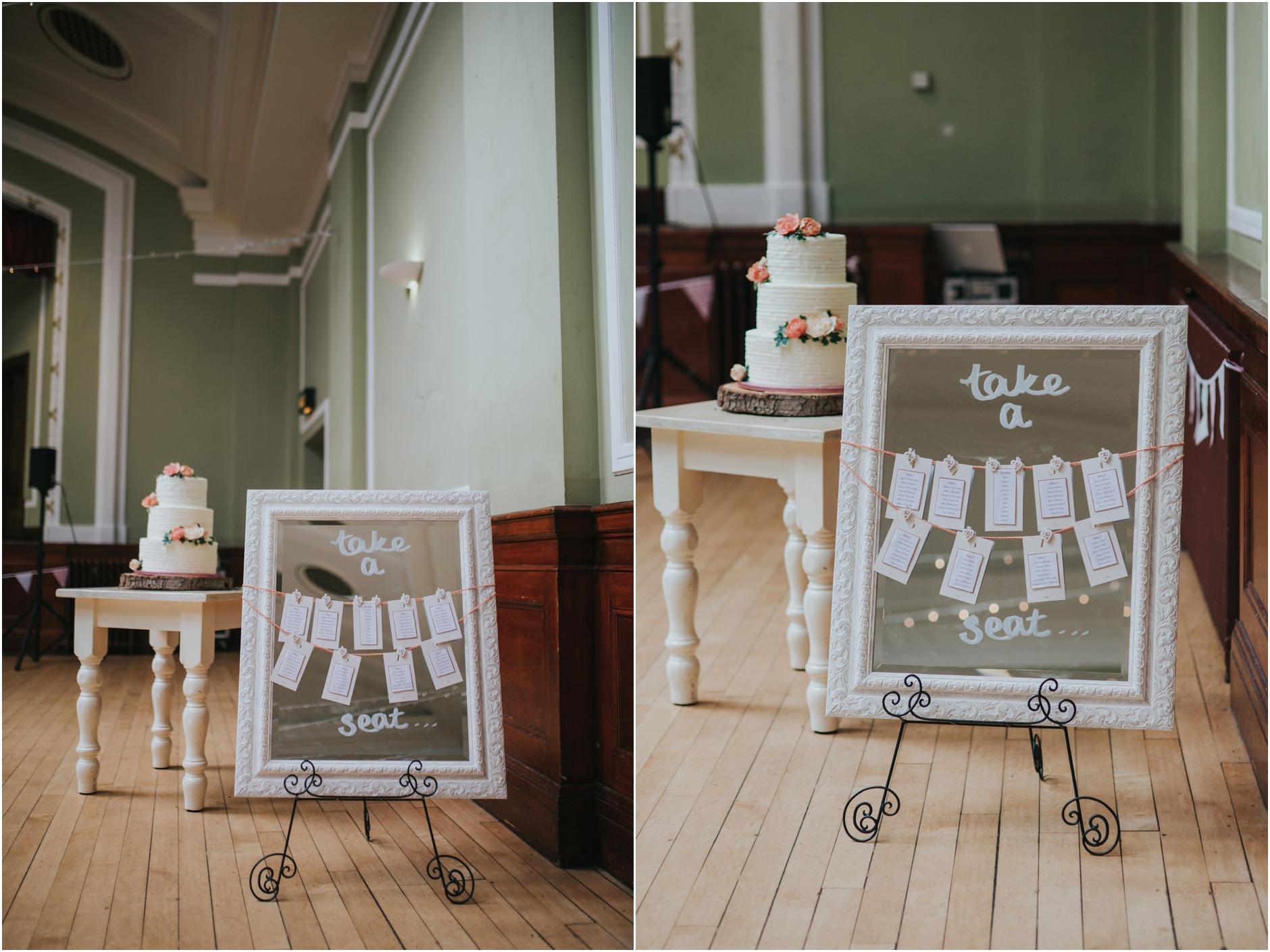 wedding table set up thomas morton hall leith theatre