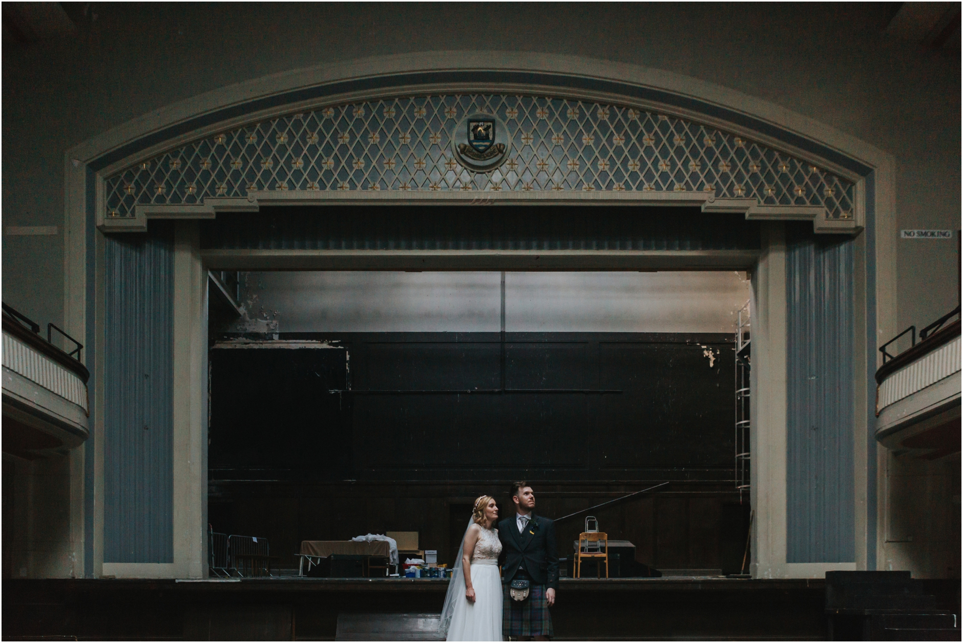 wedding at leith theatre edinburgh bride and groom vintage