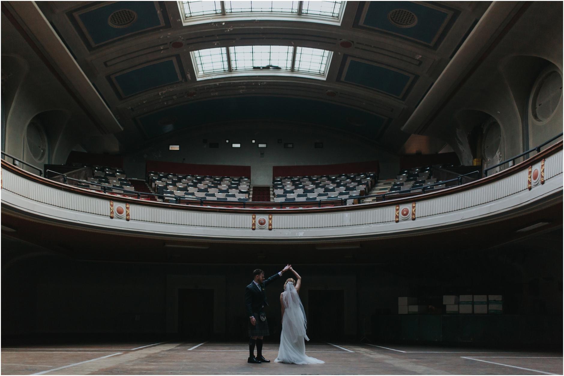 wedding at leith theatre edinburgh bride and groom vintage