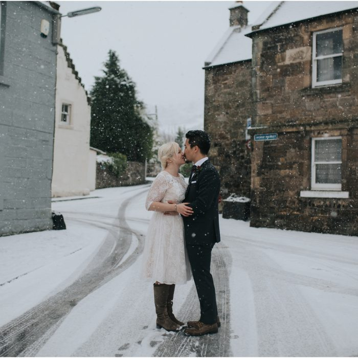 A snowy winter Scottish Elopement in Falkland - Charlotte & Anthony