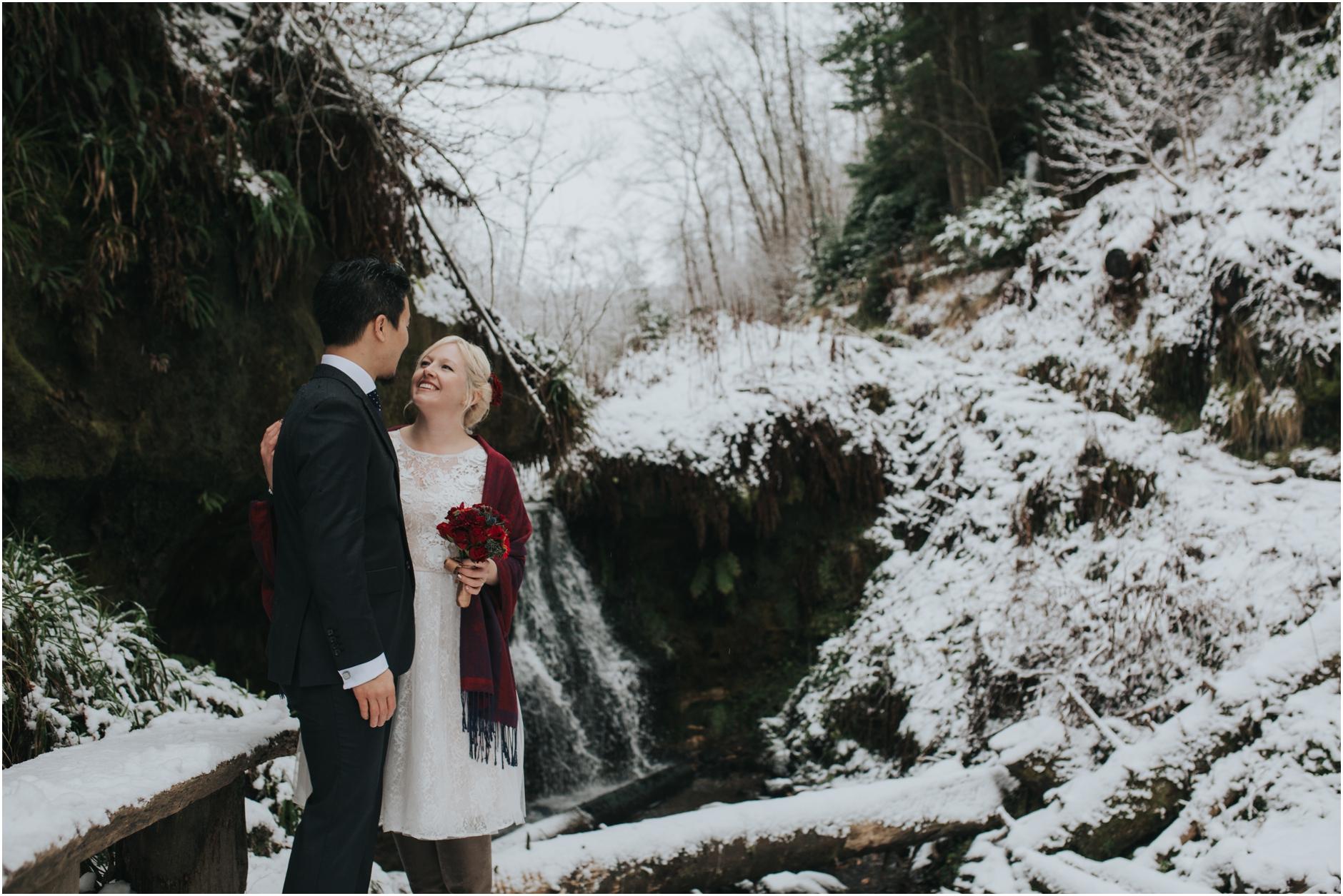 scottish snowy winter wedding elopement