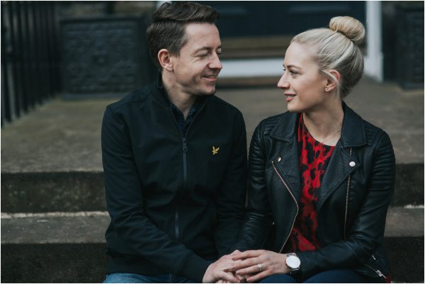 couple on their engagement photoshoot in edinburgh