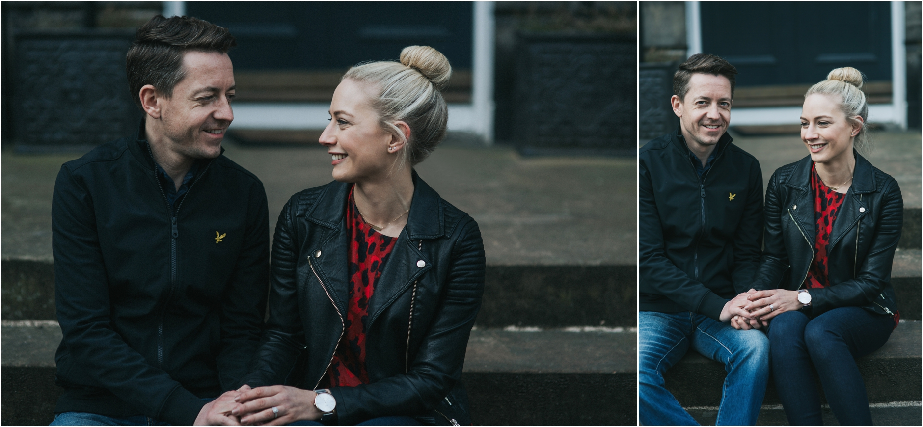 couple on their engagement photoshoot in edinburgh
