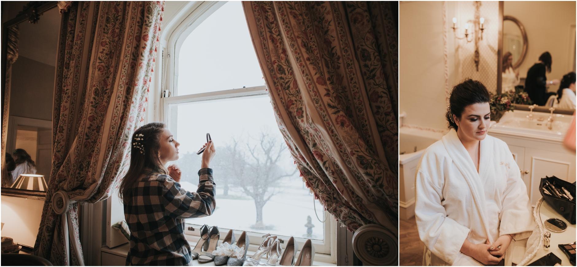 dundas castle bridesmaid putting on make up at mirror
