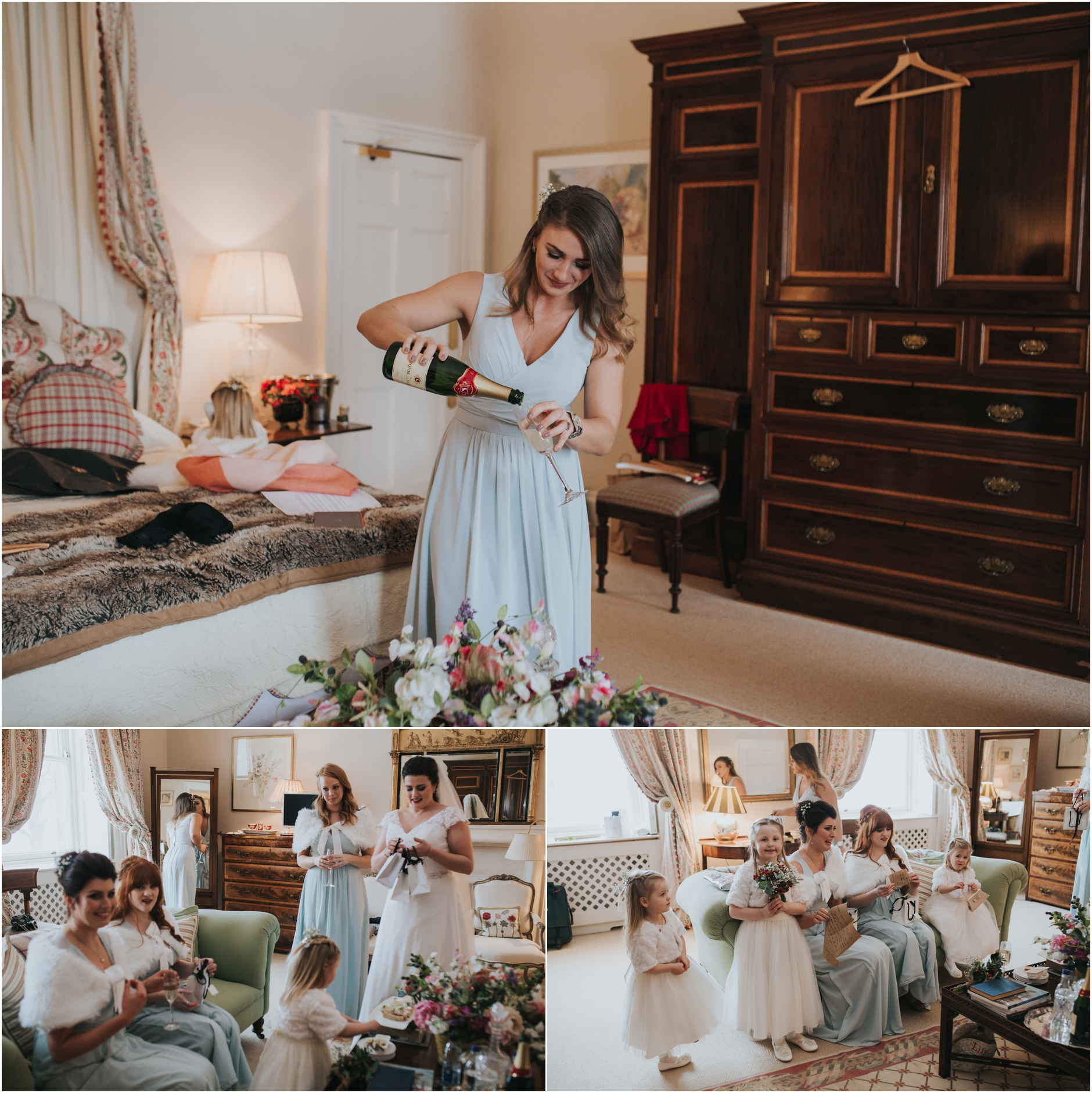 dundas castle wedding bridal party opening gifts and pouring champage