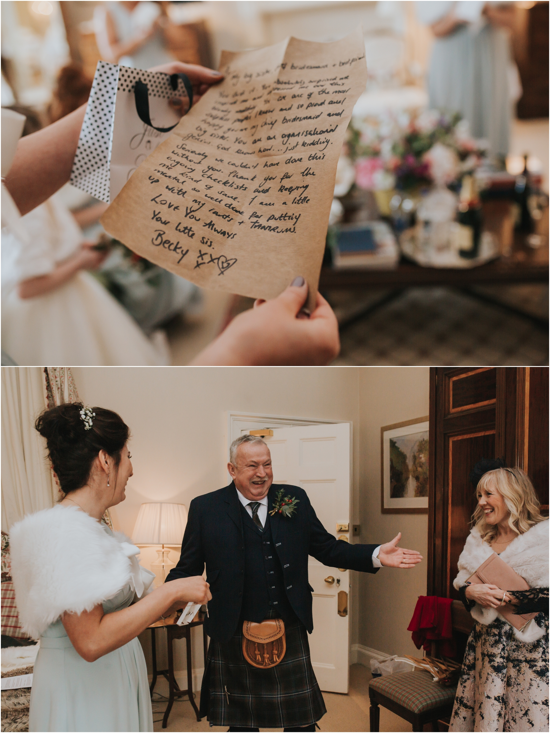 dundas castle wedding dads emptional first look with the bride