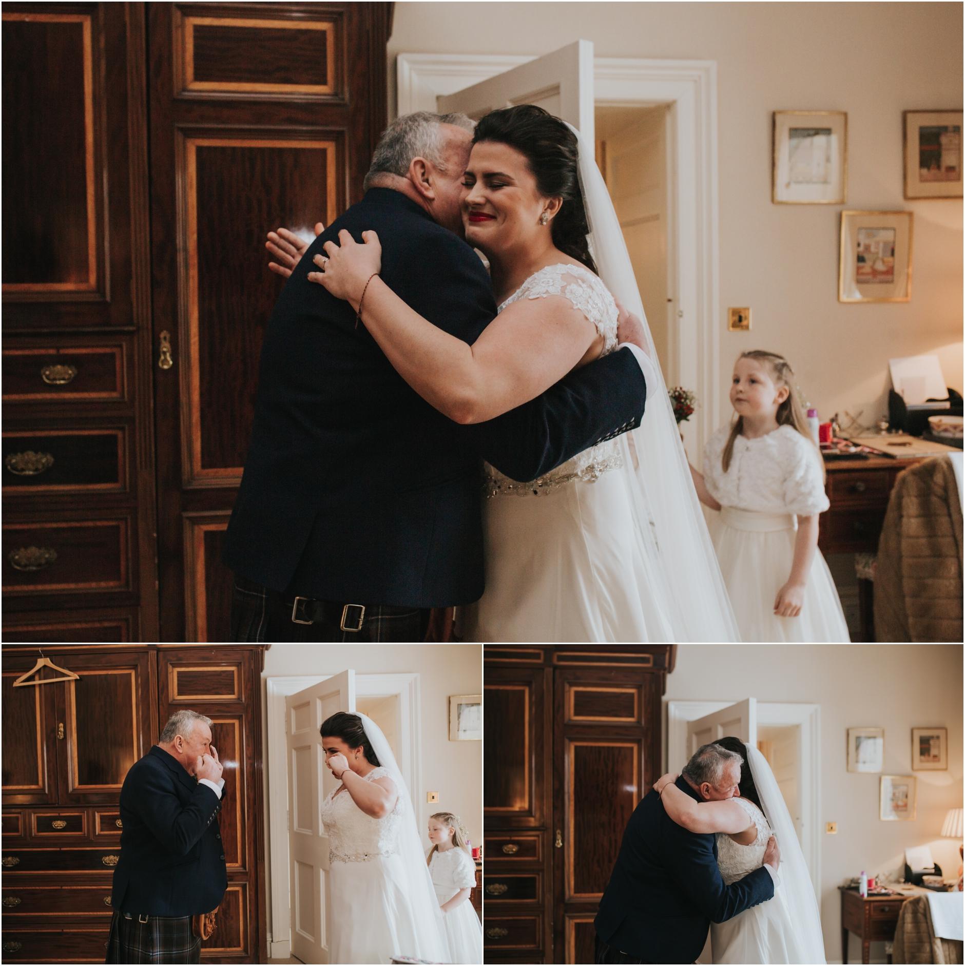 dundas castle wedding dad and bride hugging
