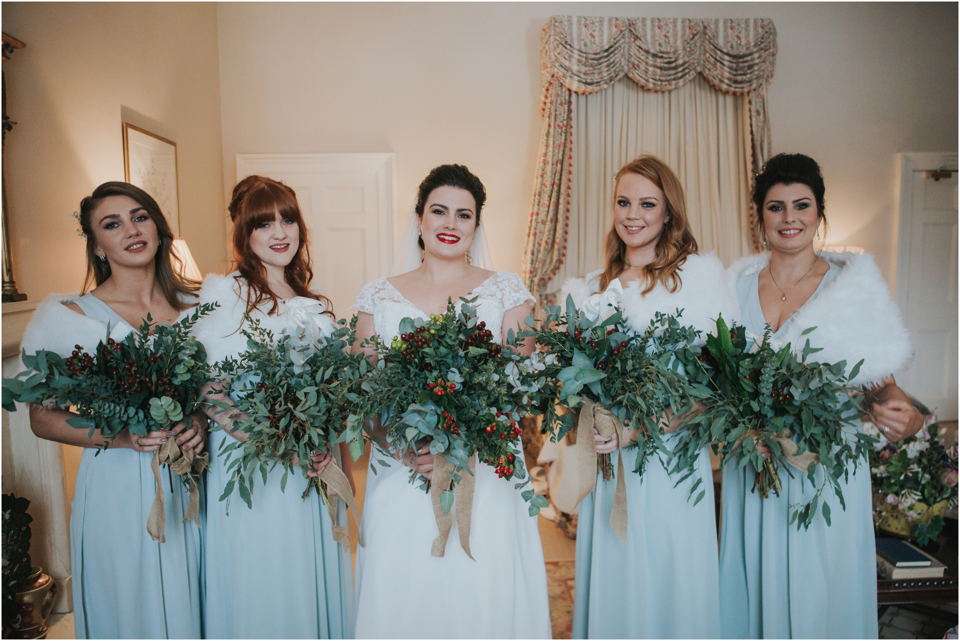 dundas castle wedding winter bridesmaids florals