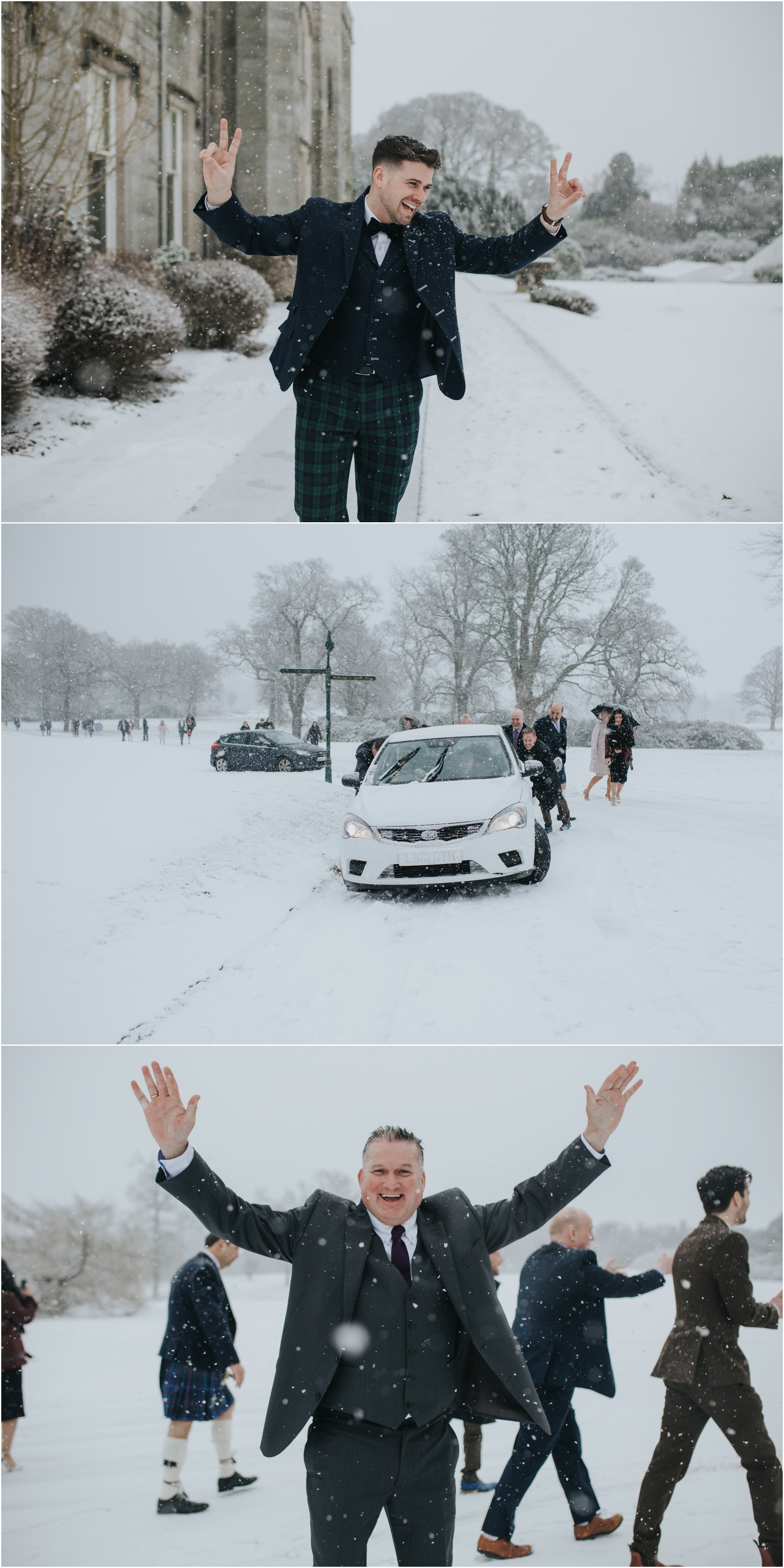 dundas castle wedding at winter in the snow