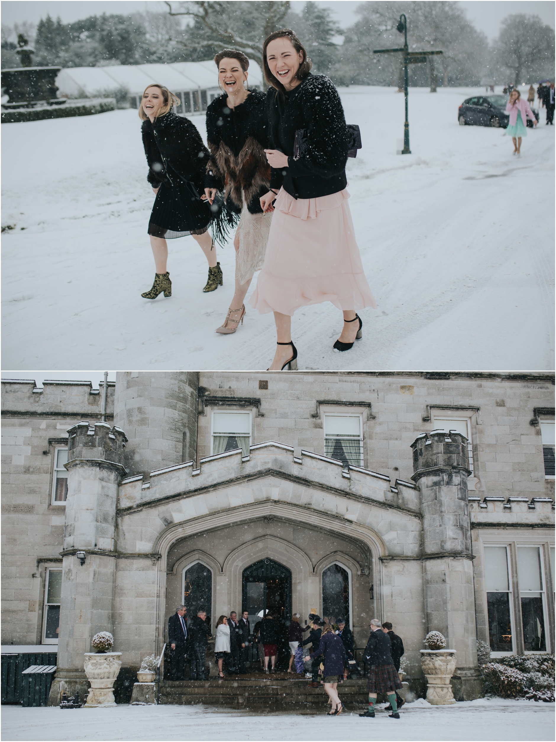 dundas castle wedding at winter in the snow, guests arriving