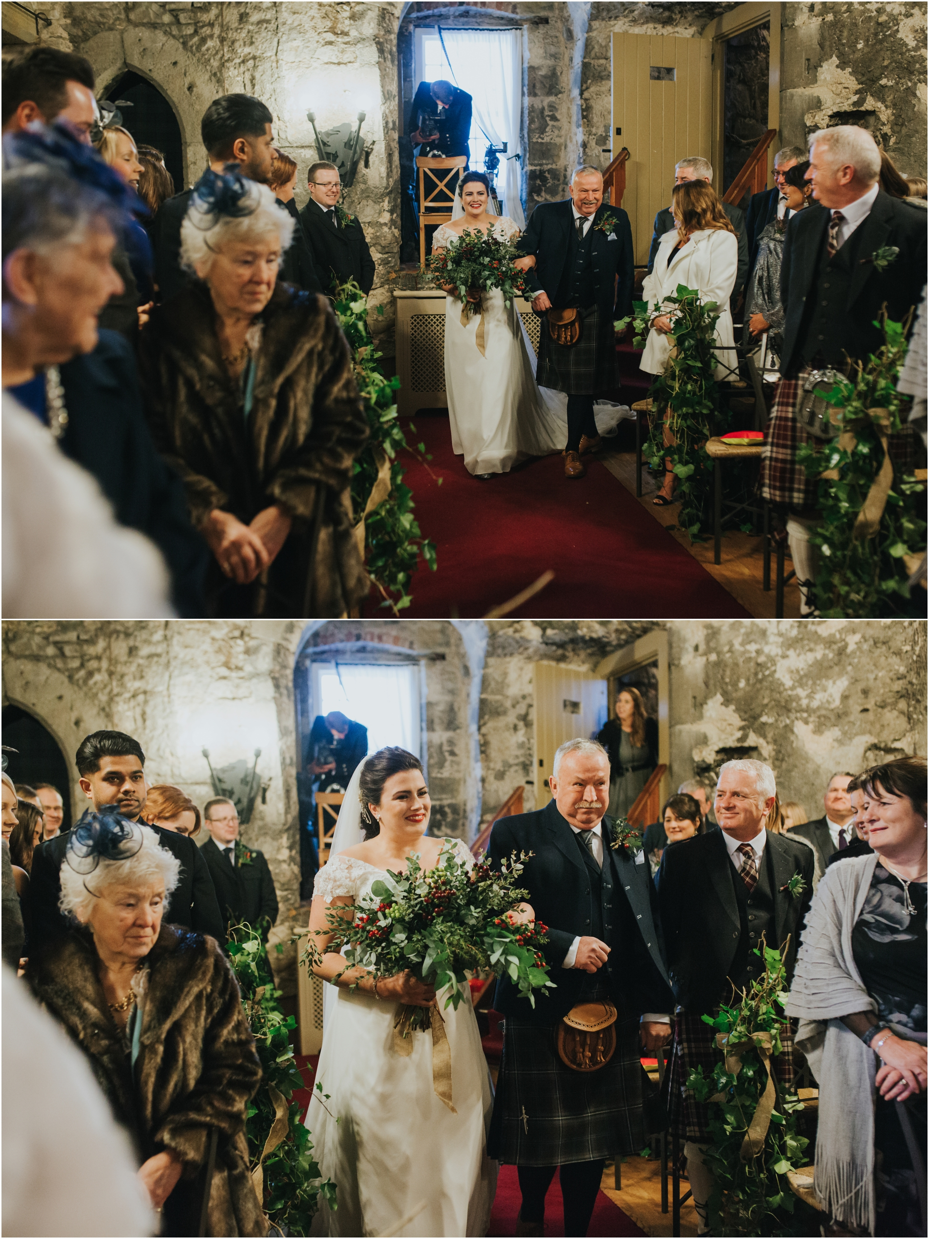 dundas castle wedding winter bride walking down the isle