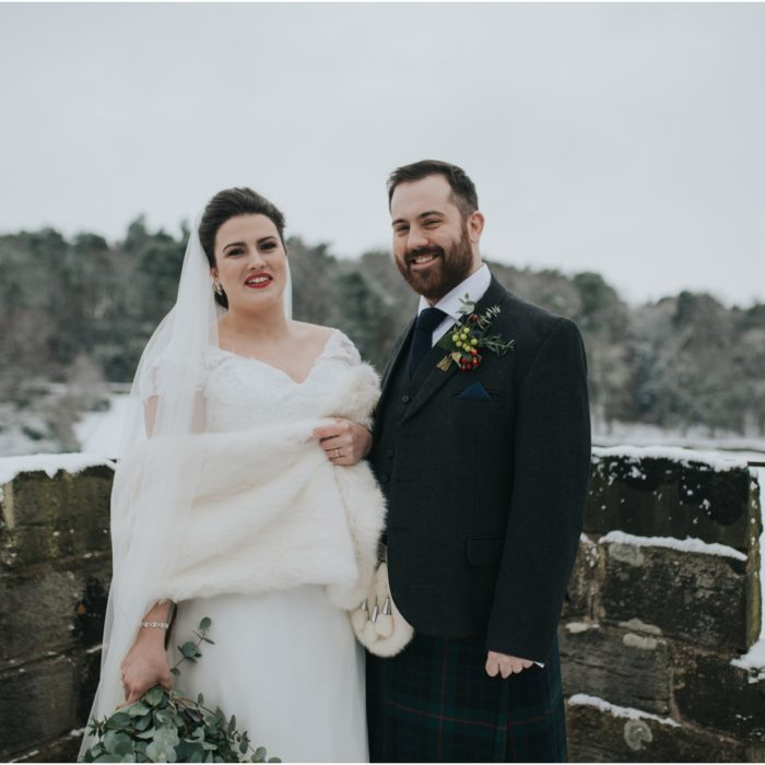 Snowy winter wedding at Dundas Castle, South Queensferry - Becky & Mike