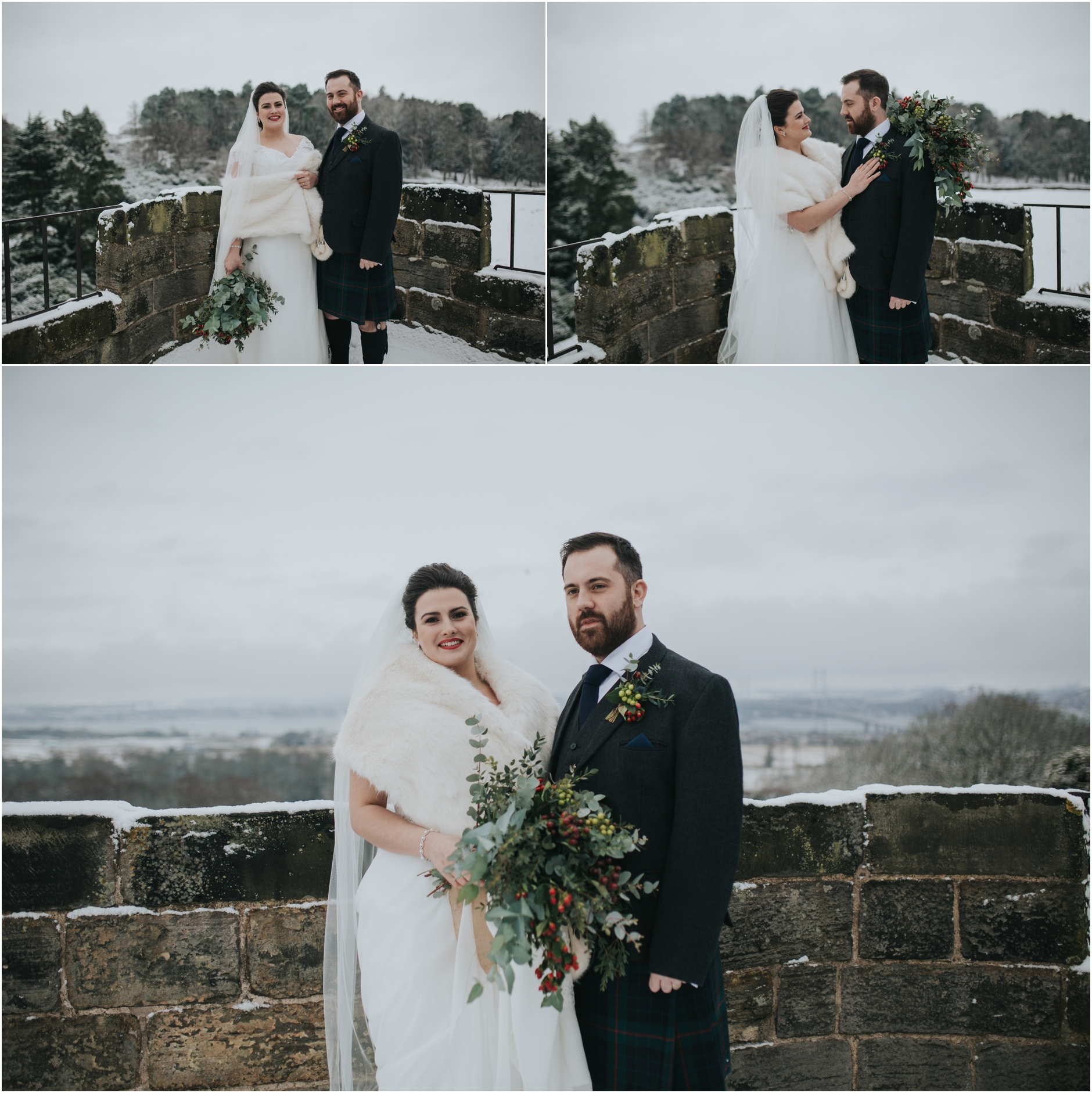 dundas castle wedding winter bride and groom in the snow