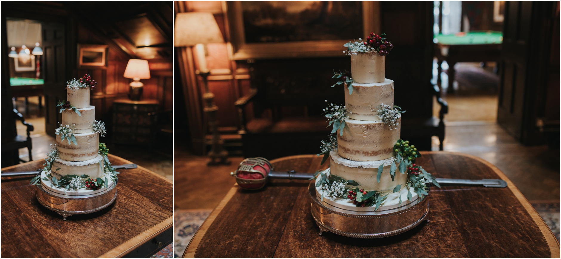 dundas castle wedding winter naked cake