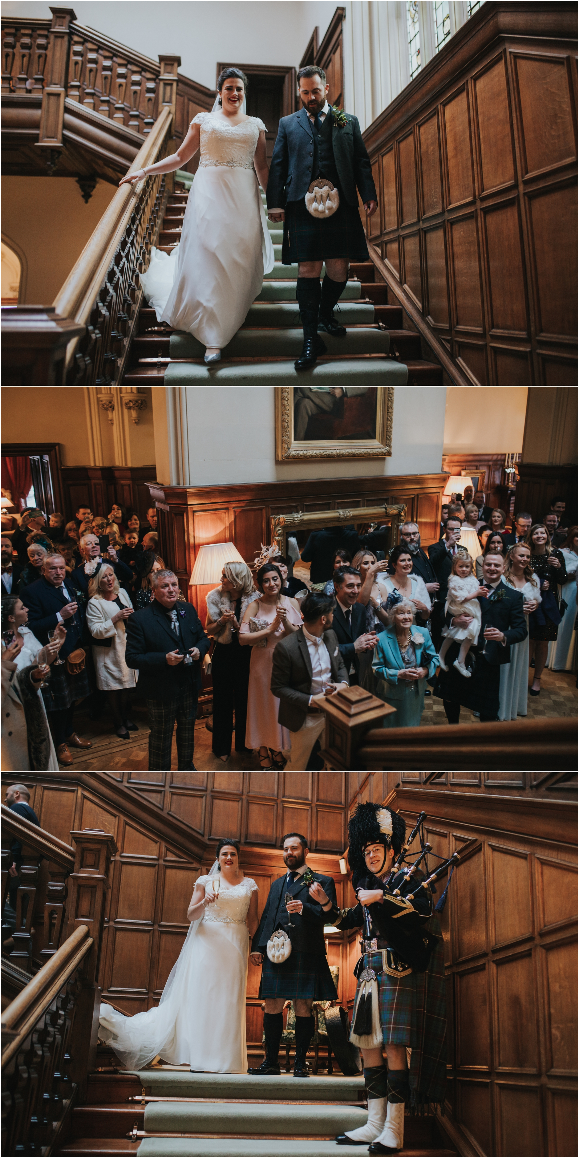 dundas castle wedding winter bride and groom make their entrance in the castle
