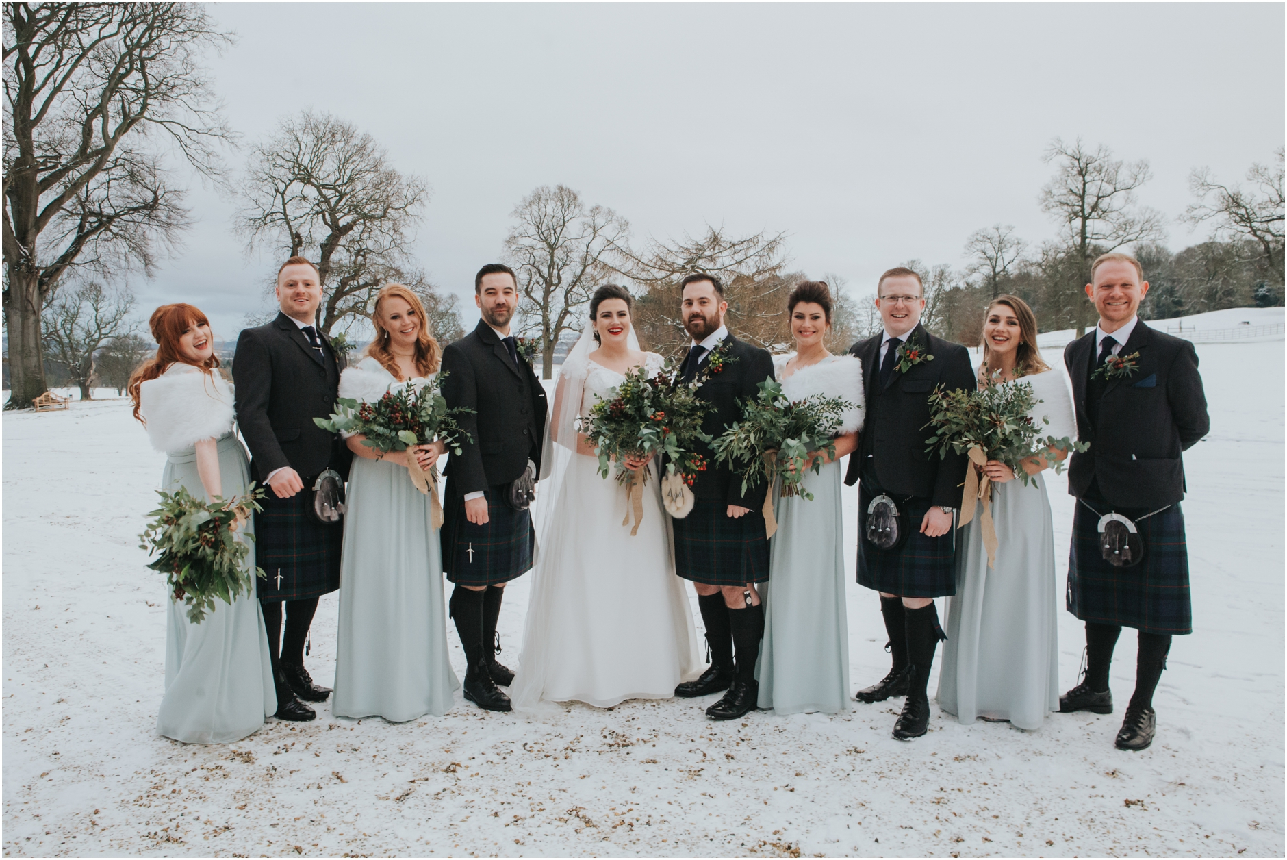 dundas castle wedding winter snow bridal party edinburgh south queensferry
