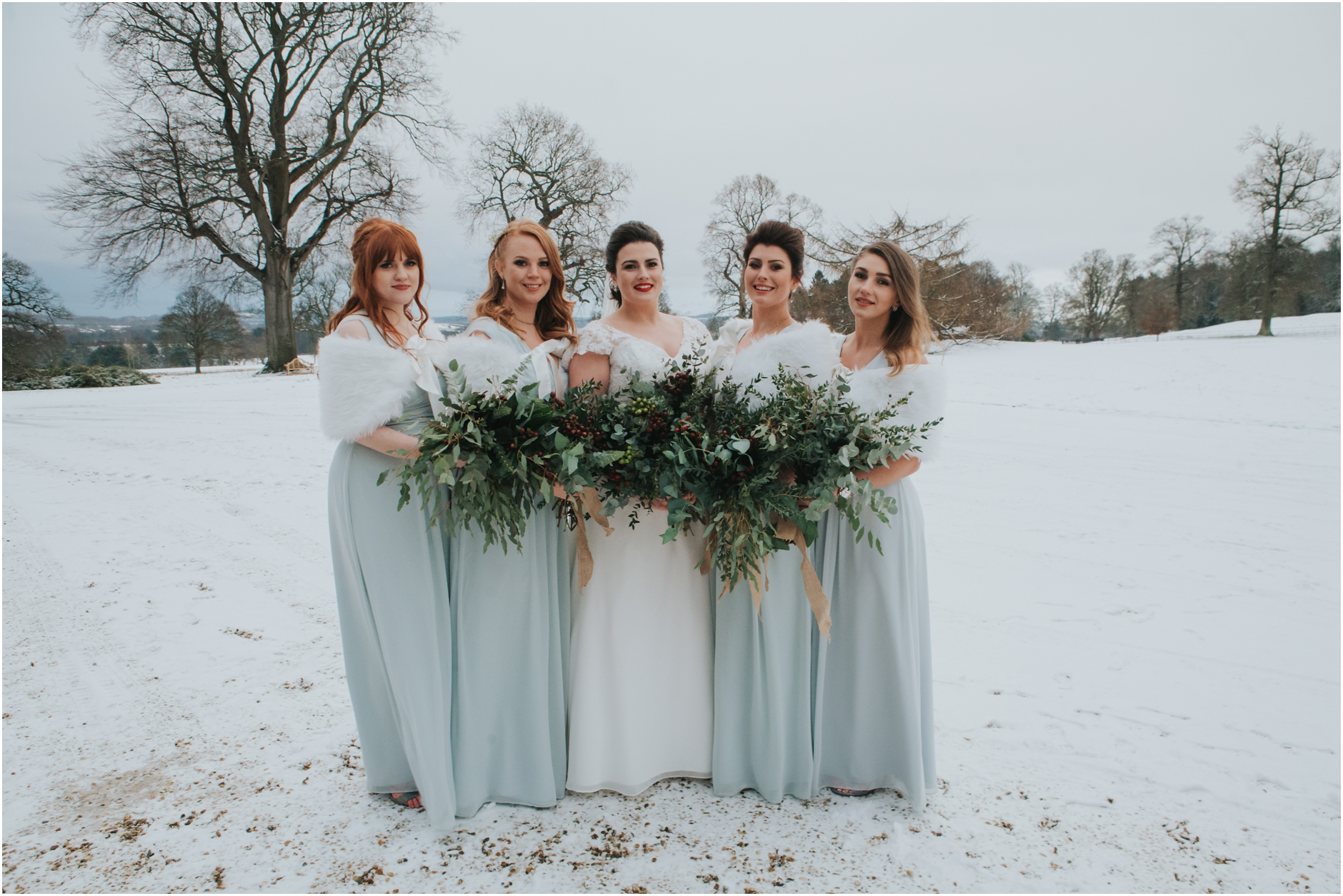 dundas castle wedding winter snow bridal party edinburgh sou
