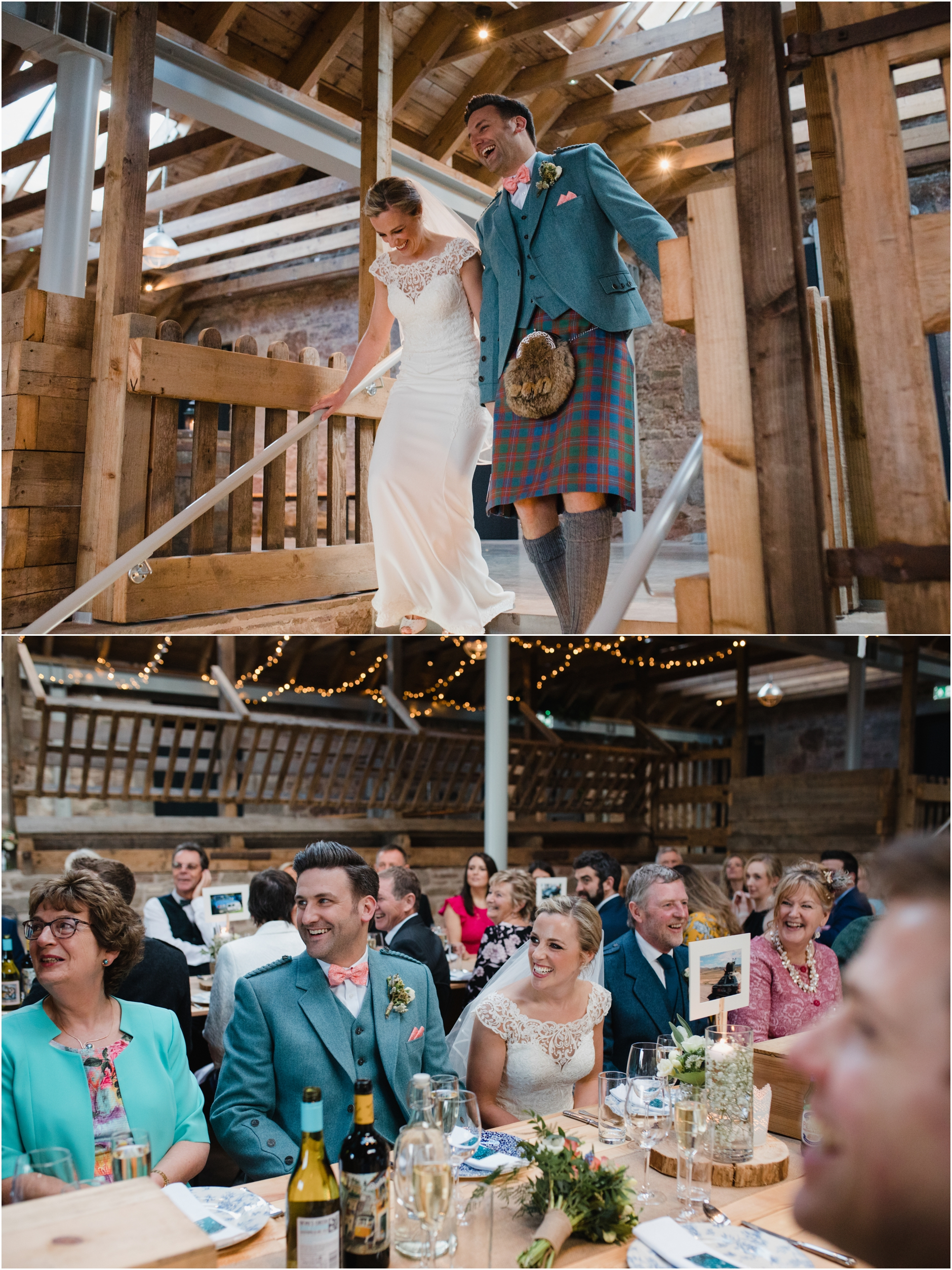 bride and groom at their wedding at guardswell farm scotland