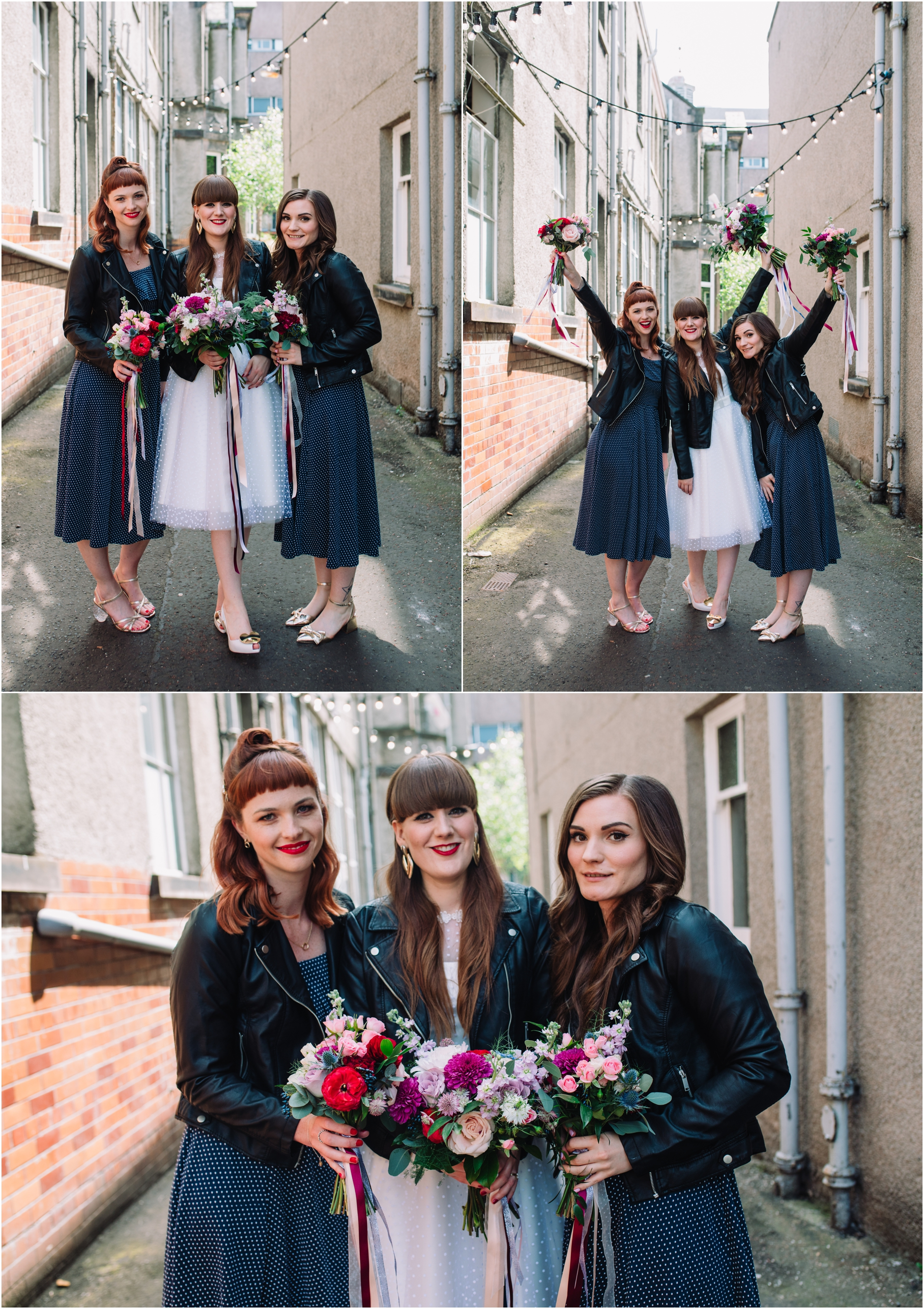 bride and bridesmaids wearing 50s style dresses and leather jackets