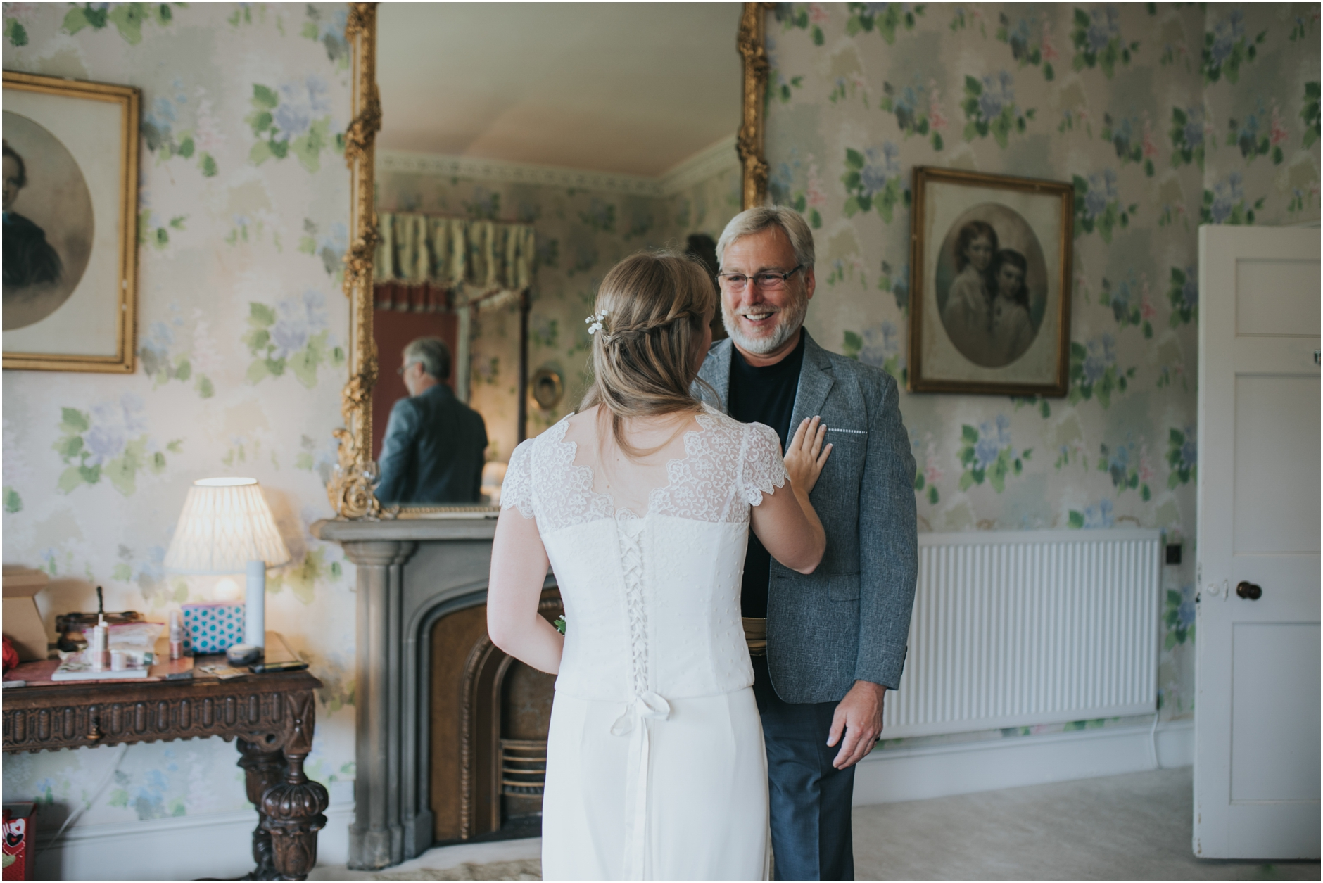 dads reaction to seeing the bride in her dress at duns castle scottish elopement wedding