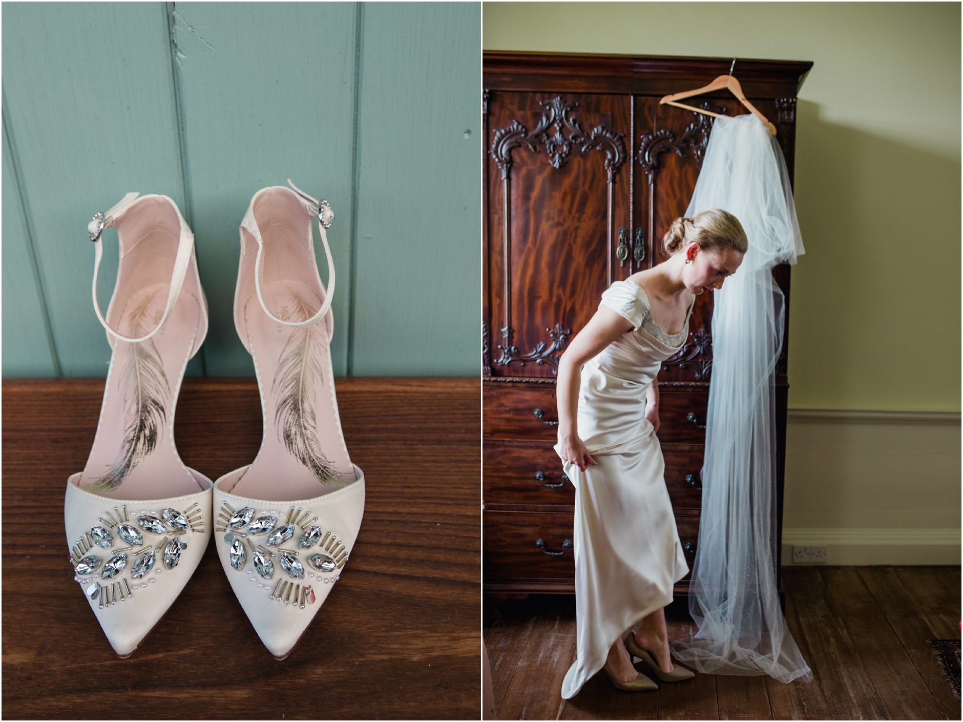 bride getting ready for her wedding day putting on shoes at boswell coach house. She has a classic vintage elegant look with a satin ivory dress.