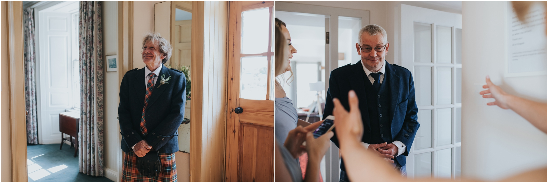 a collage of photos of dad reactions to seeing the bride in her dress for the first time