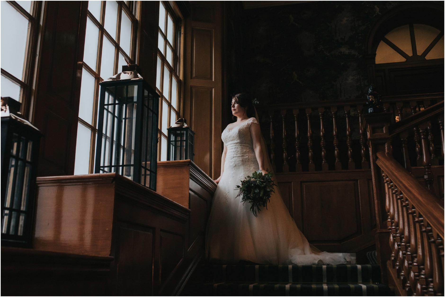 bridal portrait on the stairwell at dunkeld house hotel, pitlochry