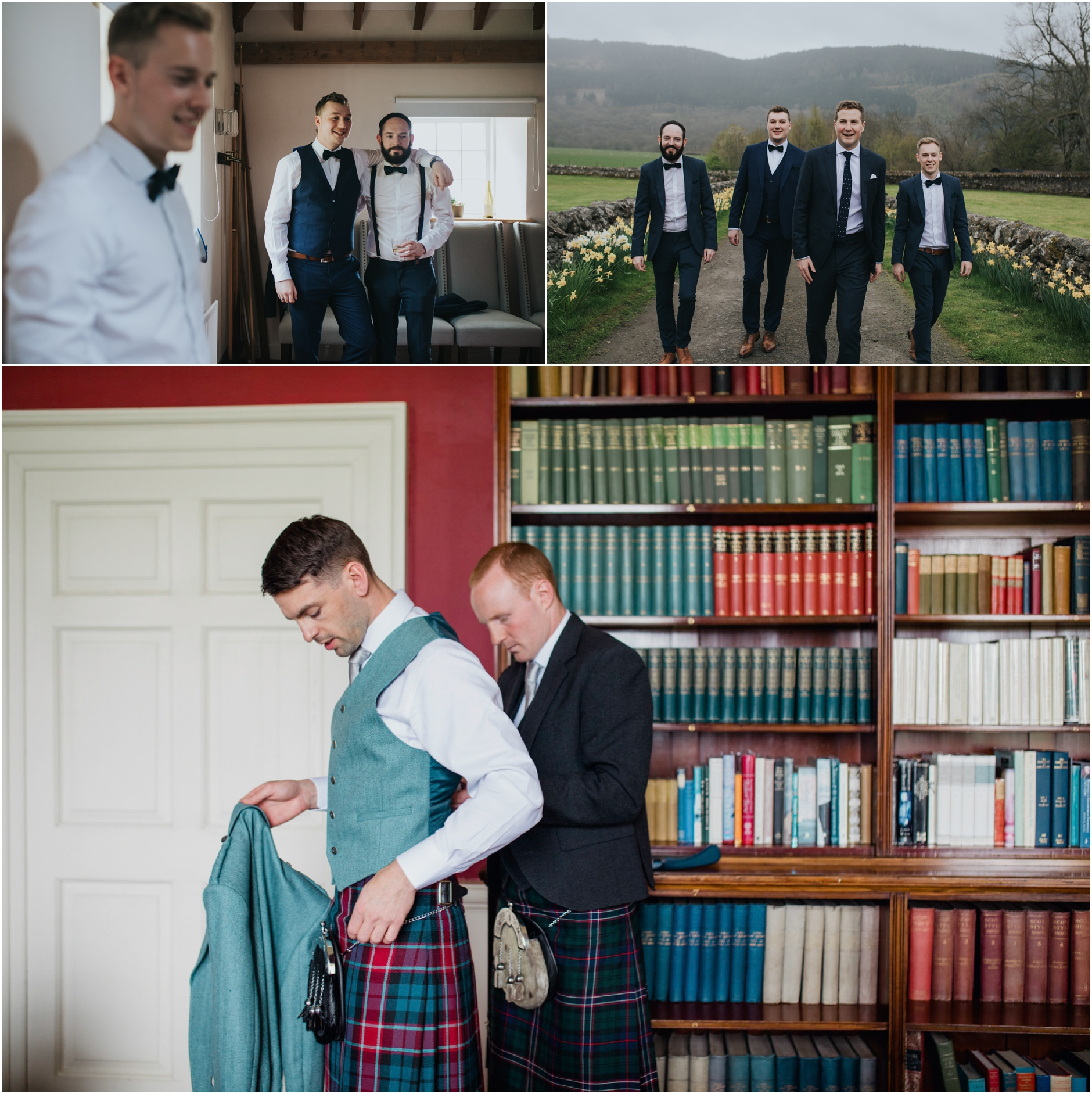 images of scottish grooms on their wedding day getting ready