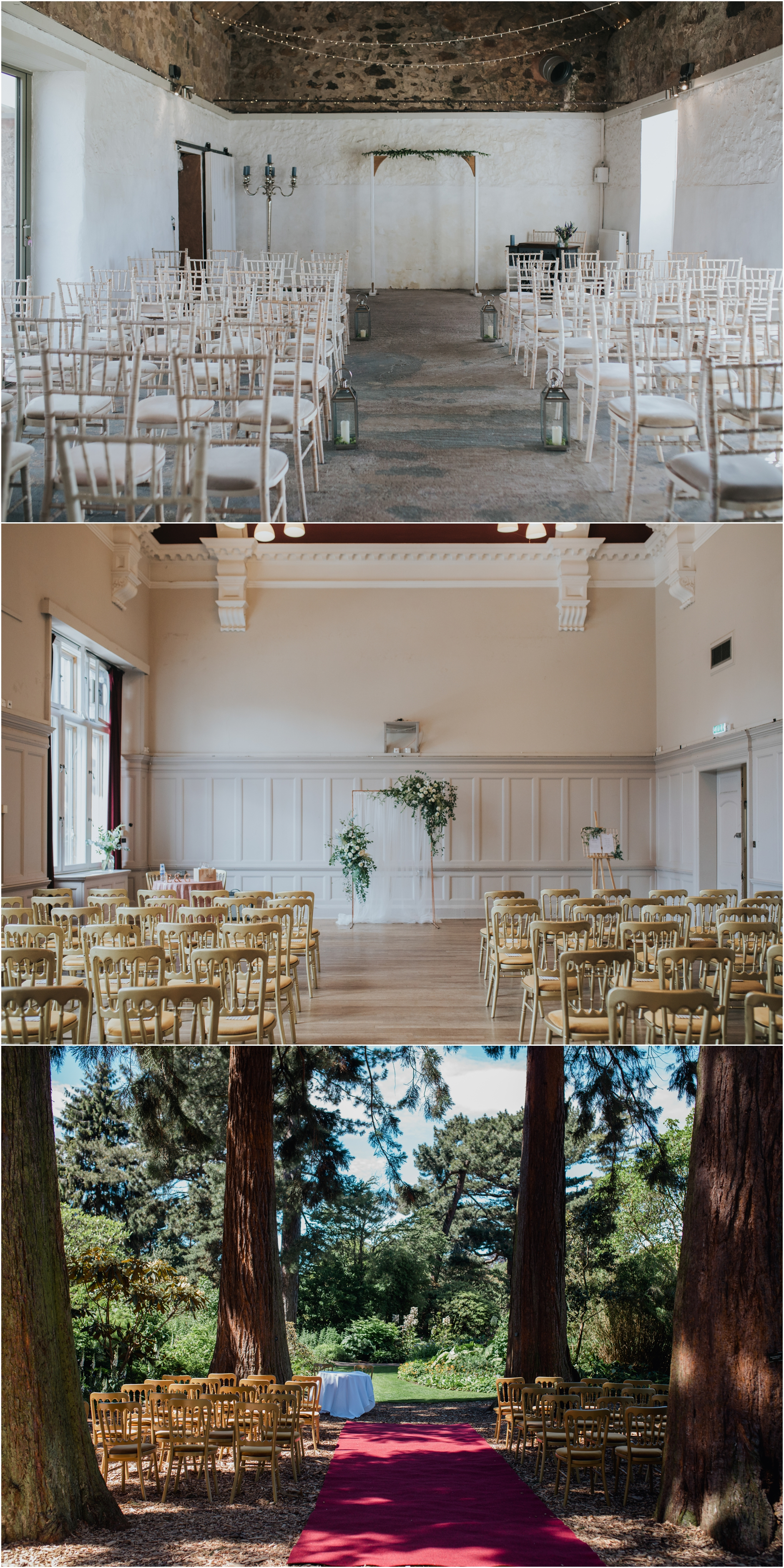 scottish wedding venue ceremony set ups, cow shed crail, summerhall and the botanical gardens edinburgh