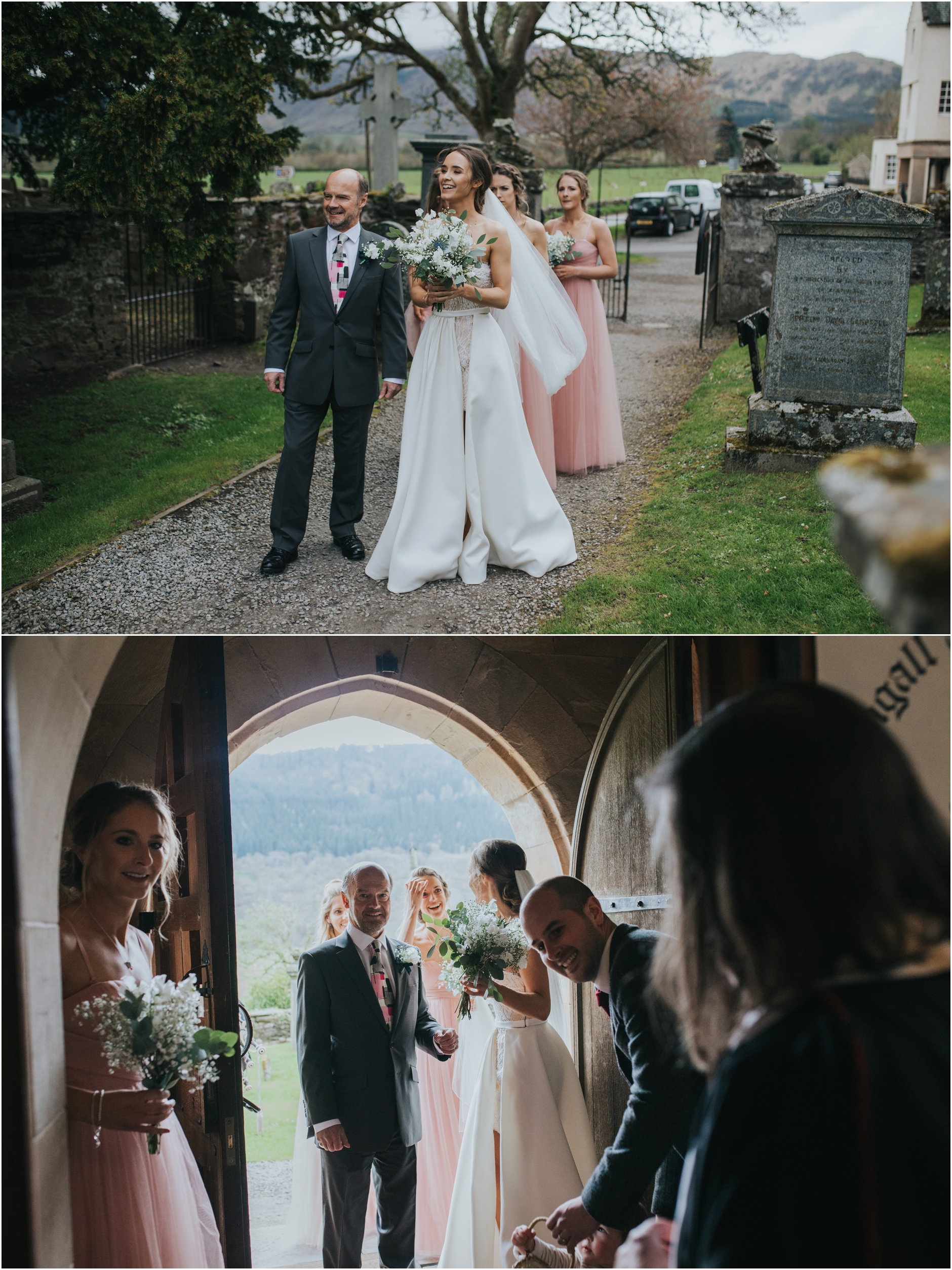 bride arriving at the church for her scottish highlands wedding