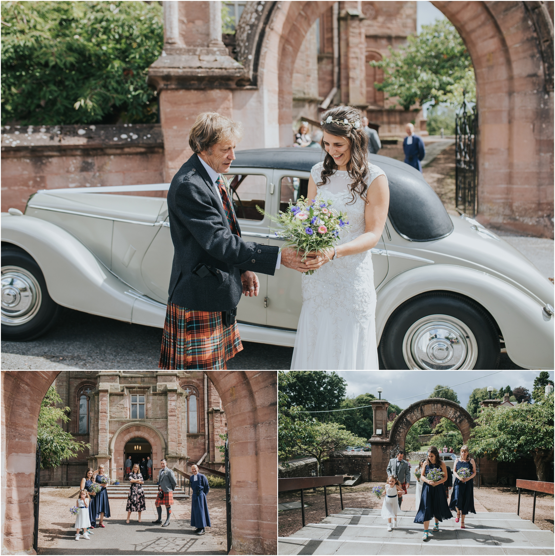 bride arriving out of a classic car outside the church for her Perthshire wedding.