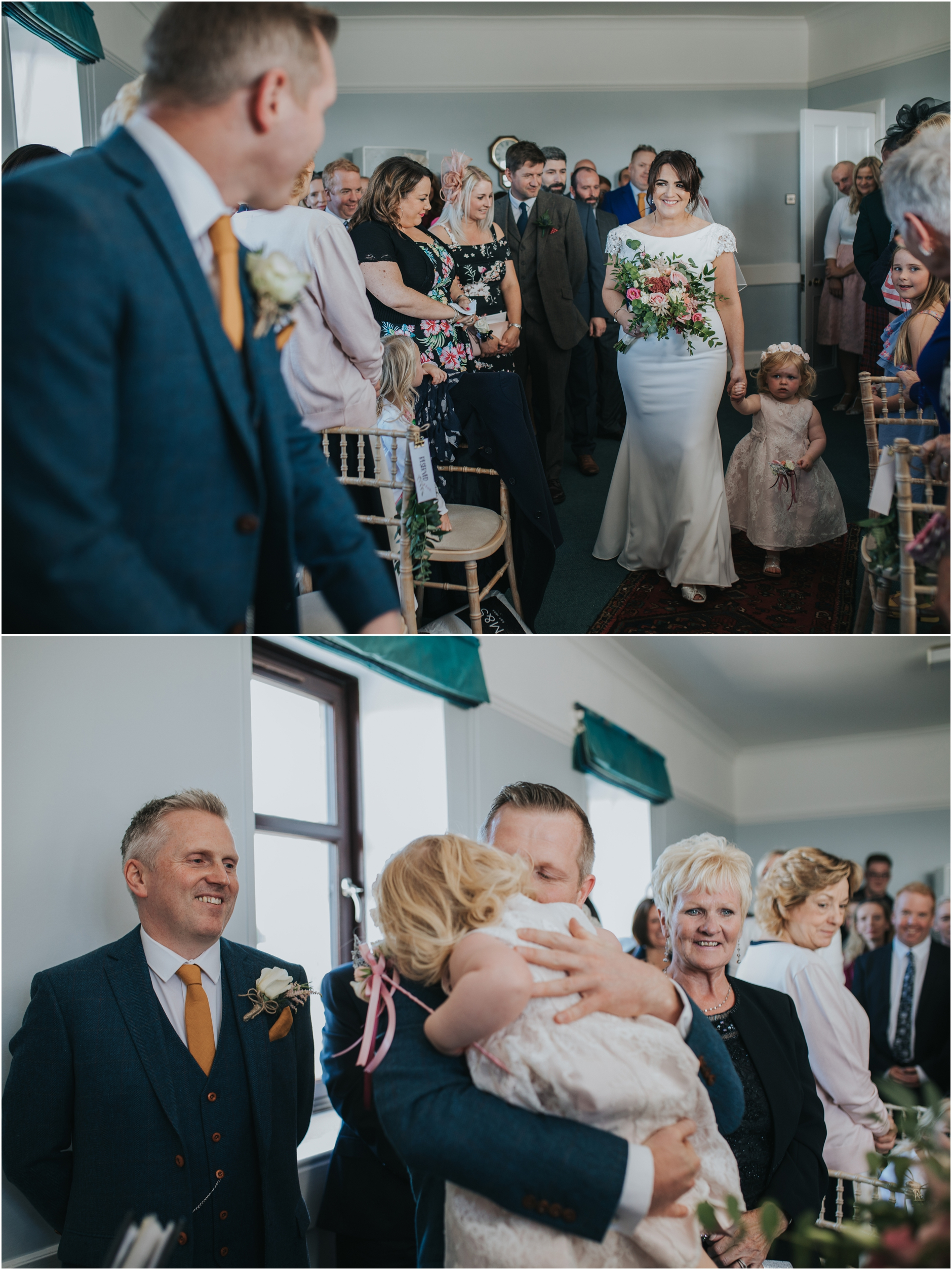 bride walkign down isle monikie village halls wedding photographer scotland