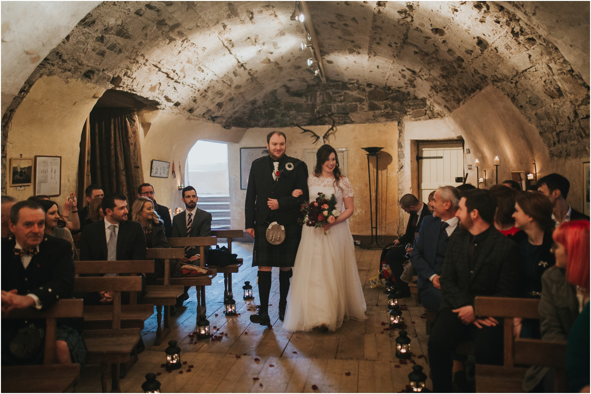 neidpath castle winter wedding