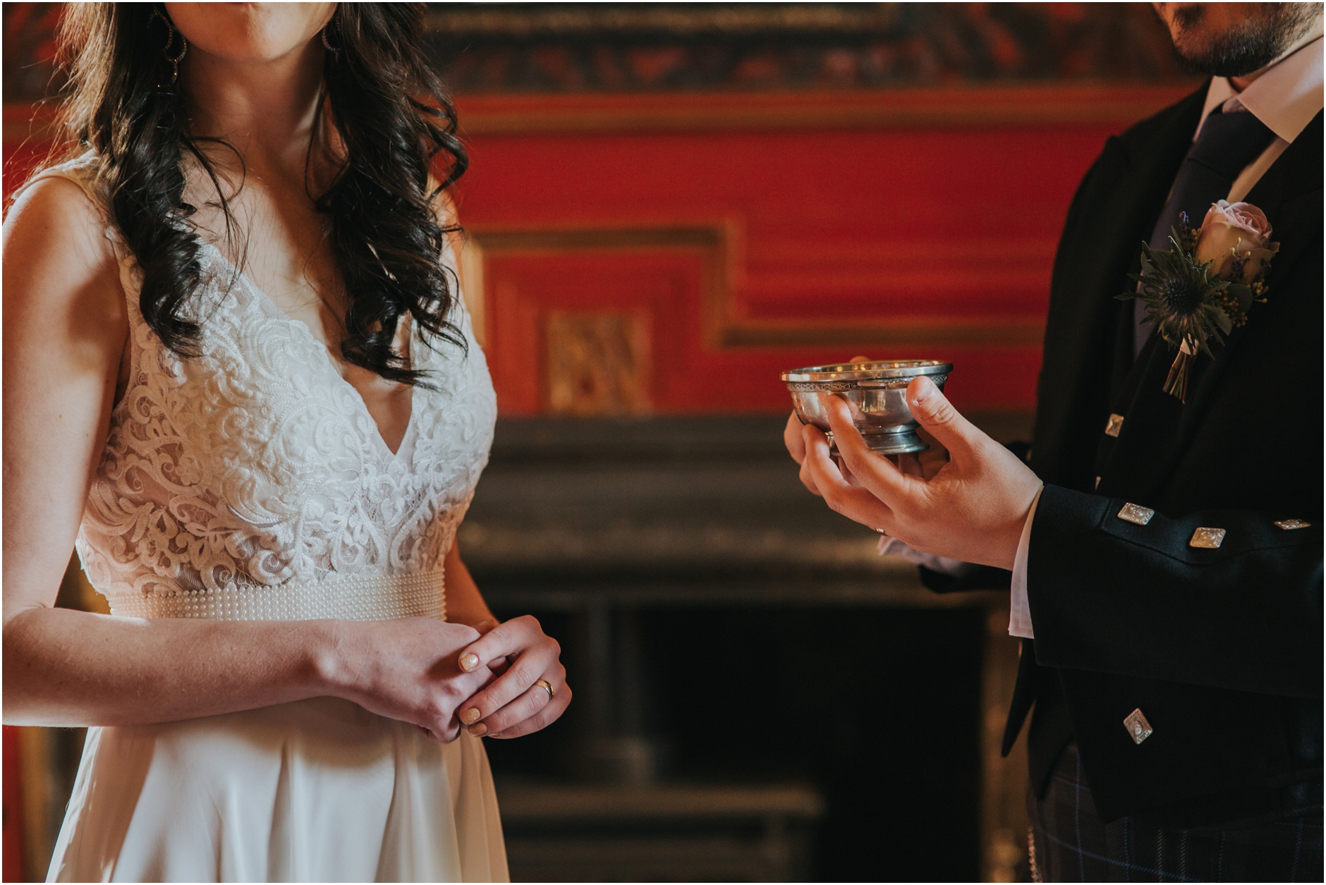 bride and grroom drinking from a 2 handled cup, quaich ceremony scottish humanist wedding elopement edinburgh