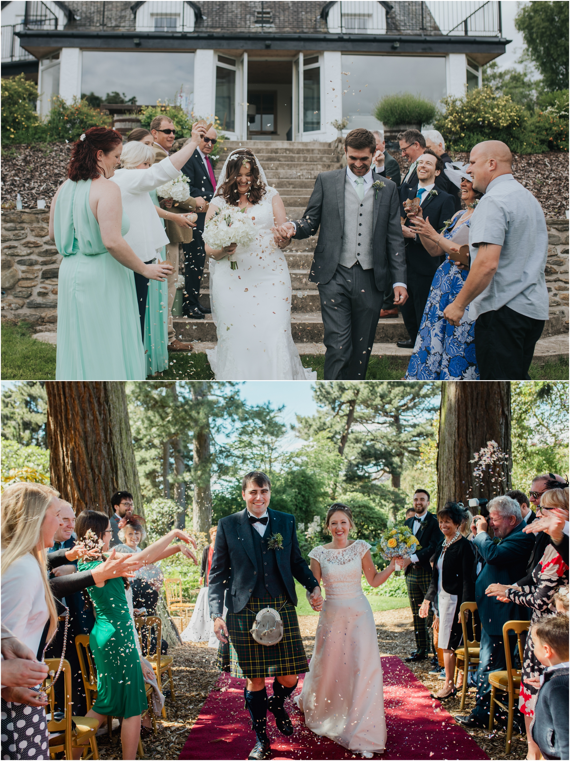outdoor scottish weddings with couples having confetti thrown at them as they walk up the isle