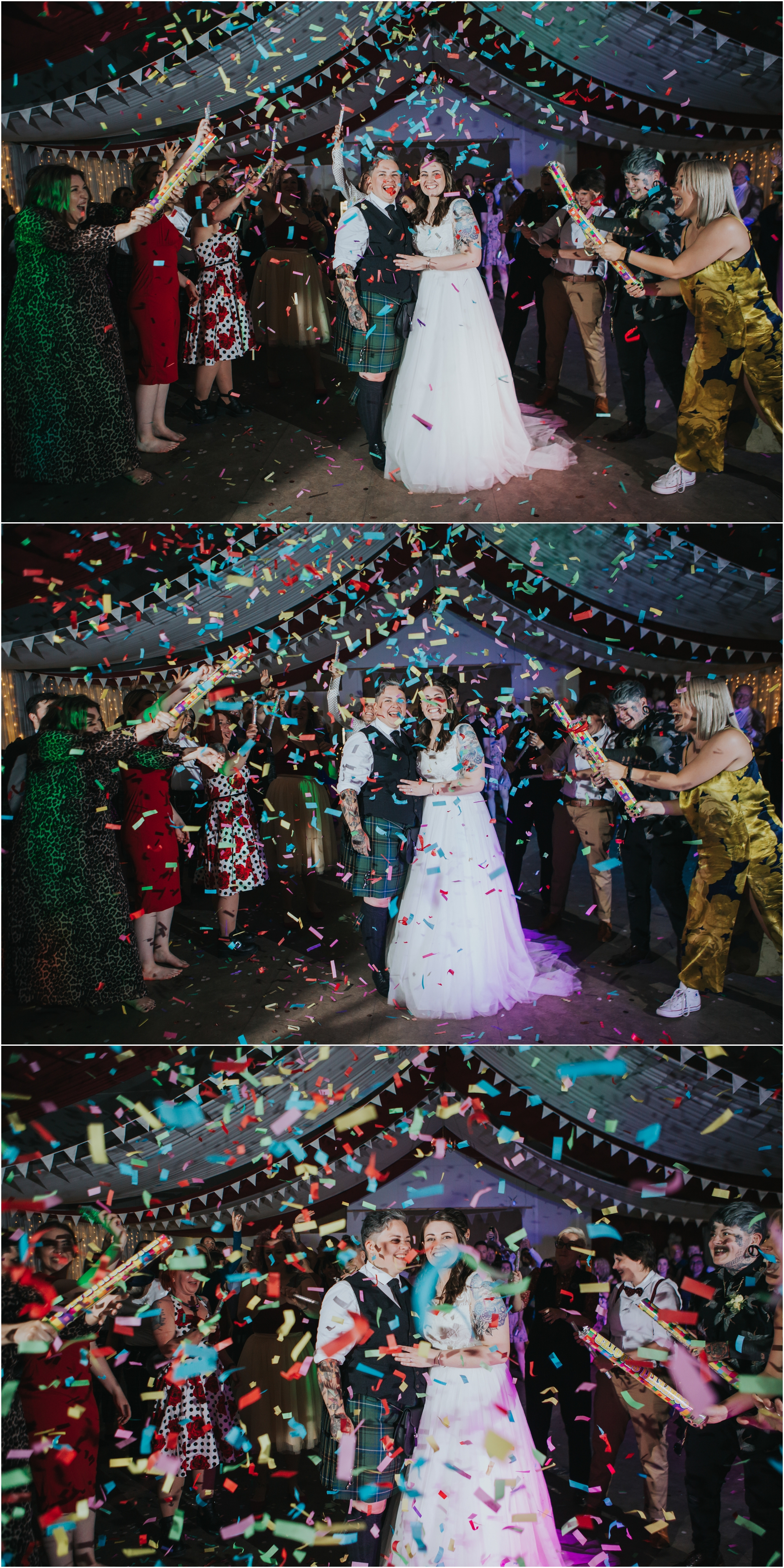 same sex wedding photographer scotland confetti over the couple on the dance floor from confetti cannons