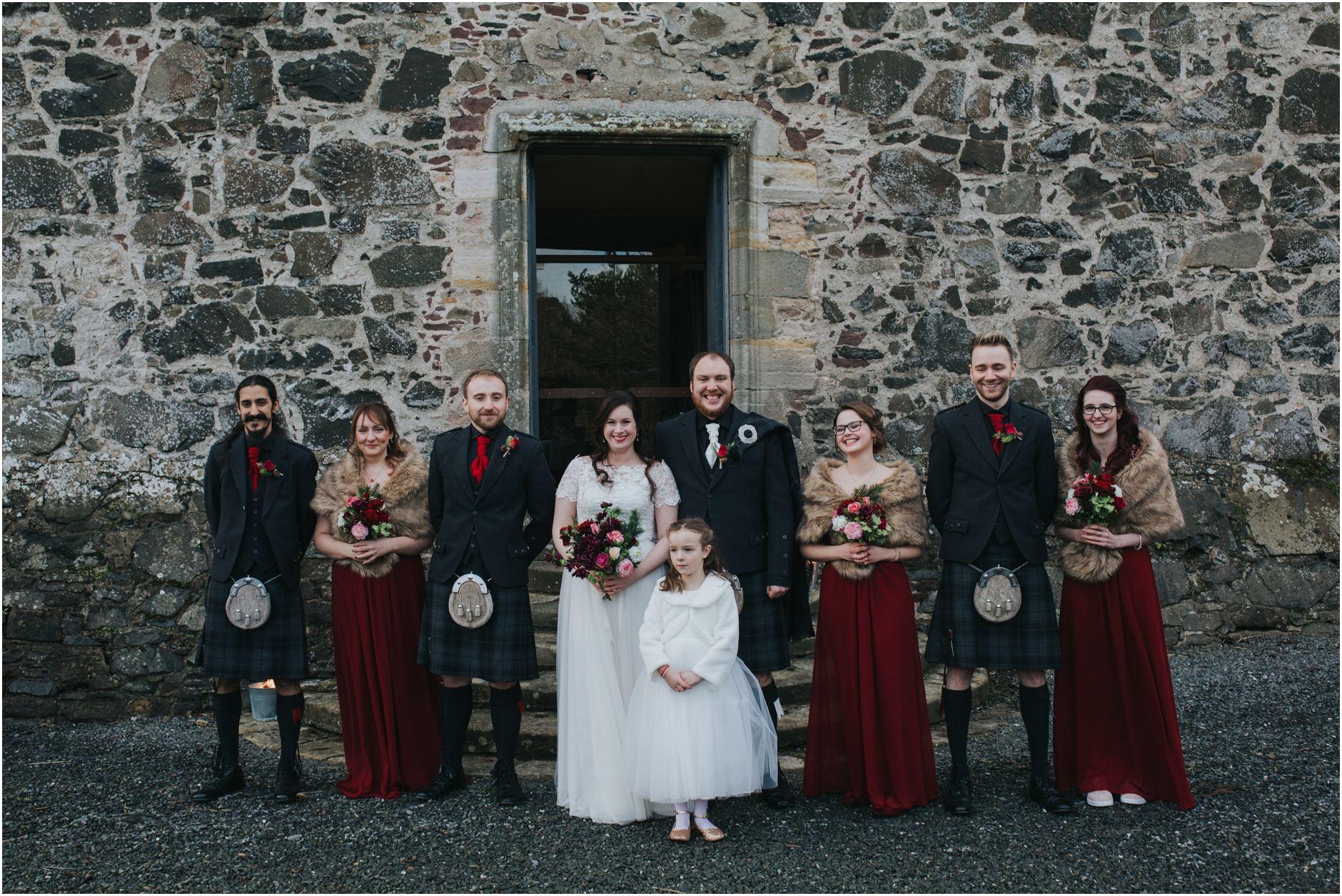 neidpath castle peebles winter wedding scotland photographer