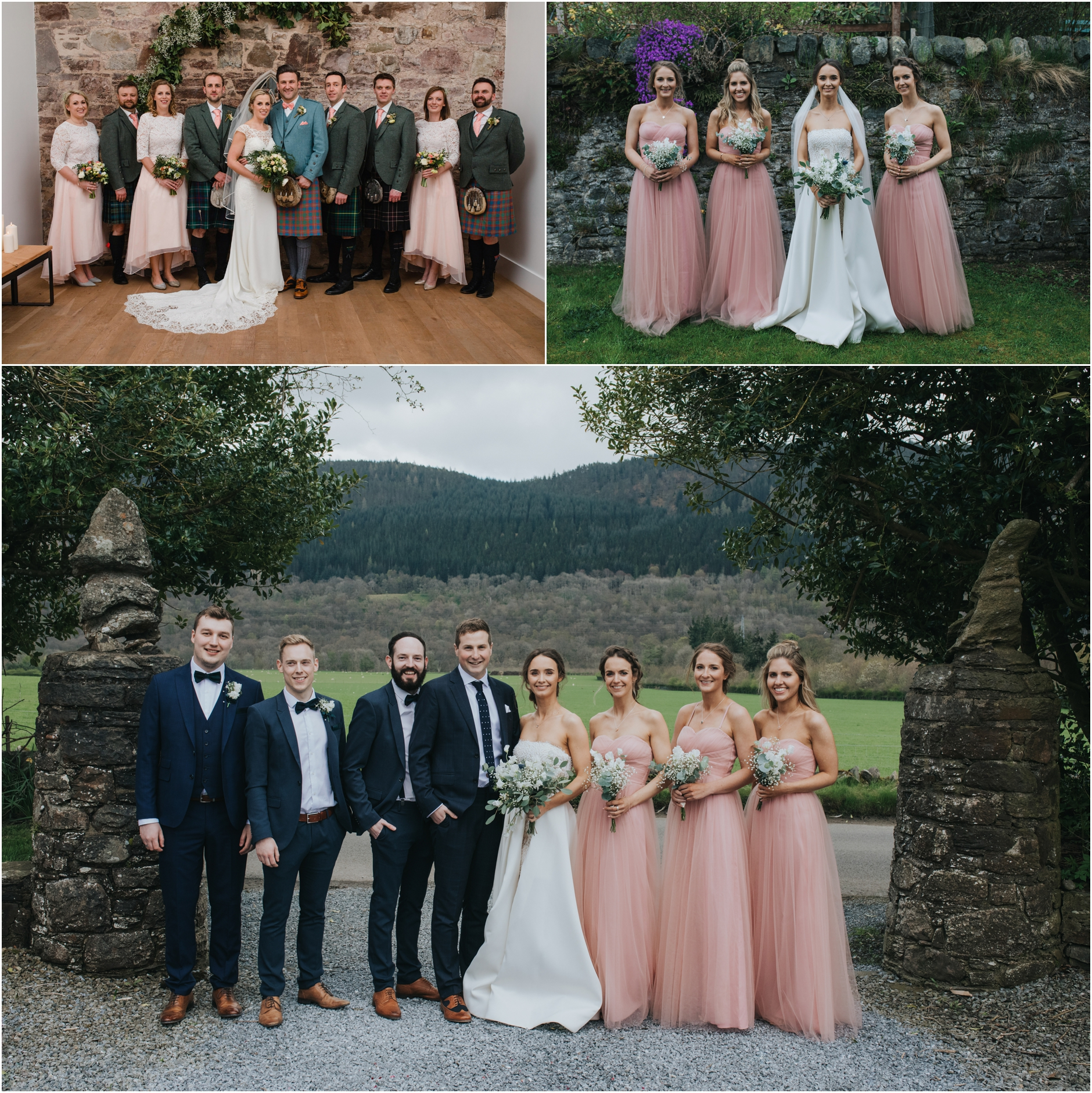 bridal party scottish wedding photographs